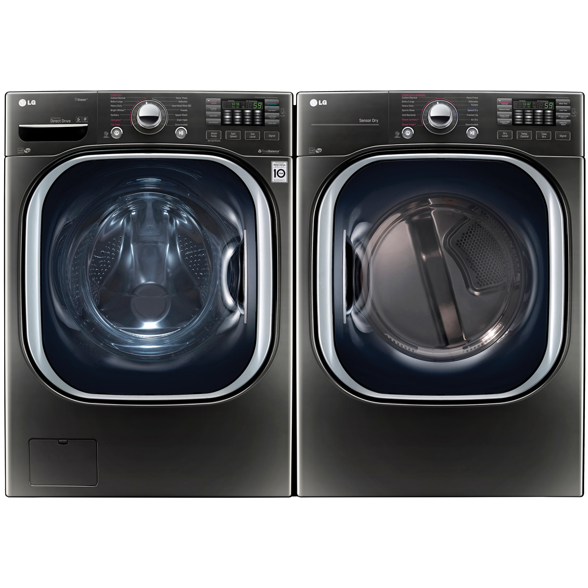 4.5 cu. ft. Front Load Washer w/Steam & 7.4 cu. ft. Dryer w/TurboSteam® Bundle Black Stainless