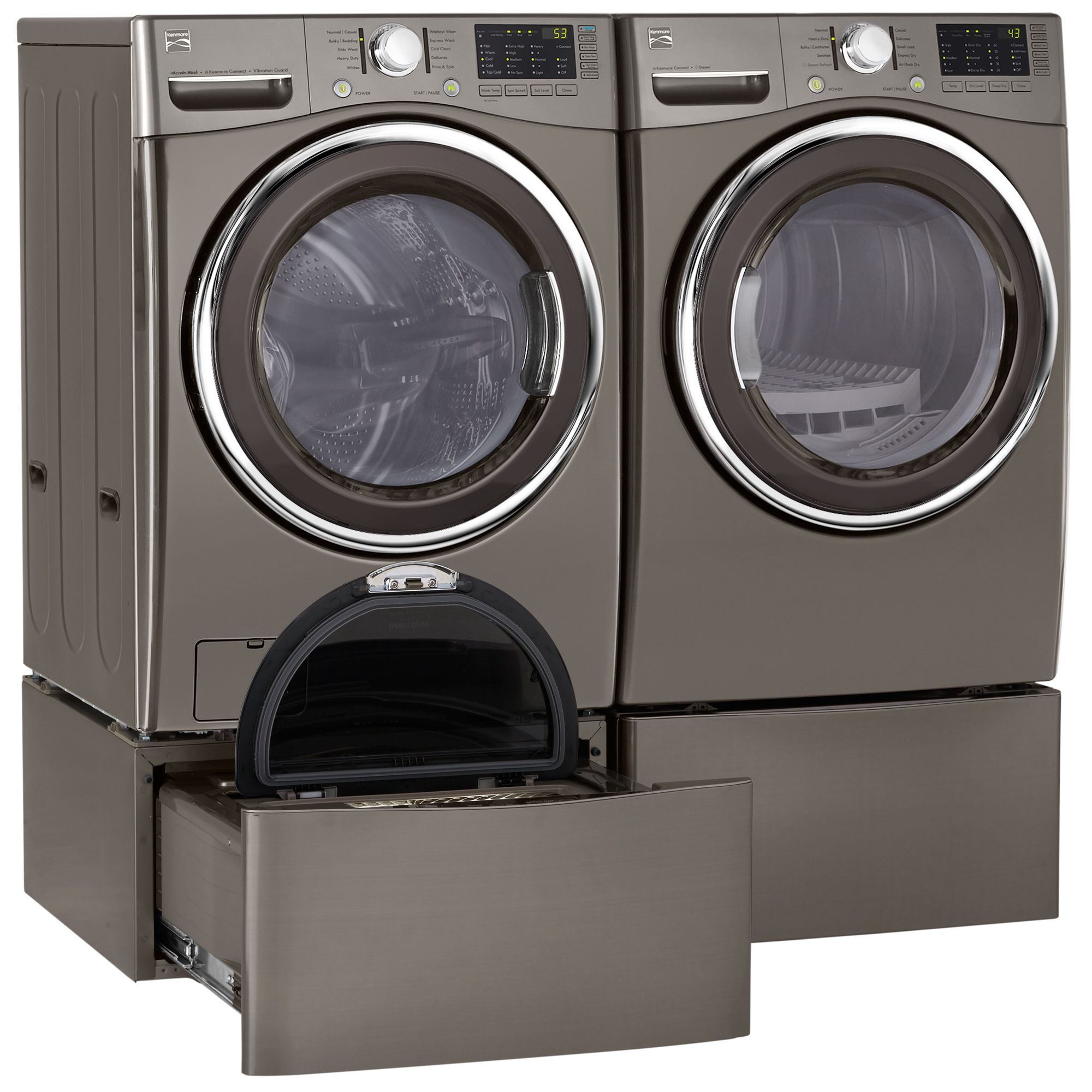 4.5 cu. ft. Front-Load Washer & 7.3 cu. ft. Front-Load Flip Control Gas or Electric Dryer with Optional Pedestal