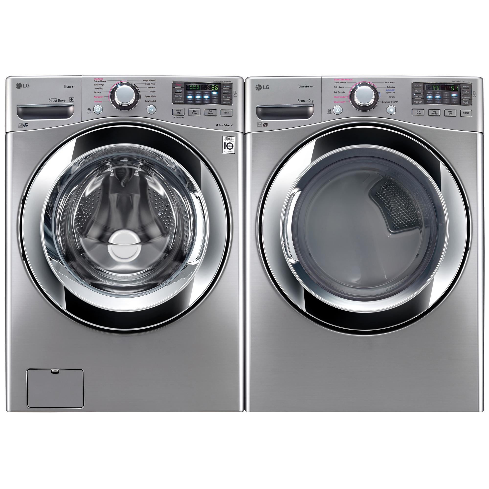 4.5 cu.ft. Front Load Washer w/Steam & 7.4 cu.ft. Dryer w/Steam Graphite Steel