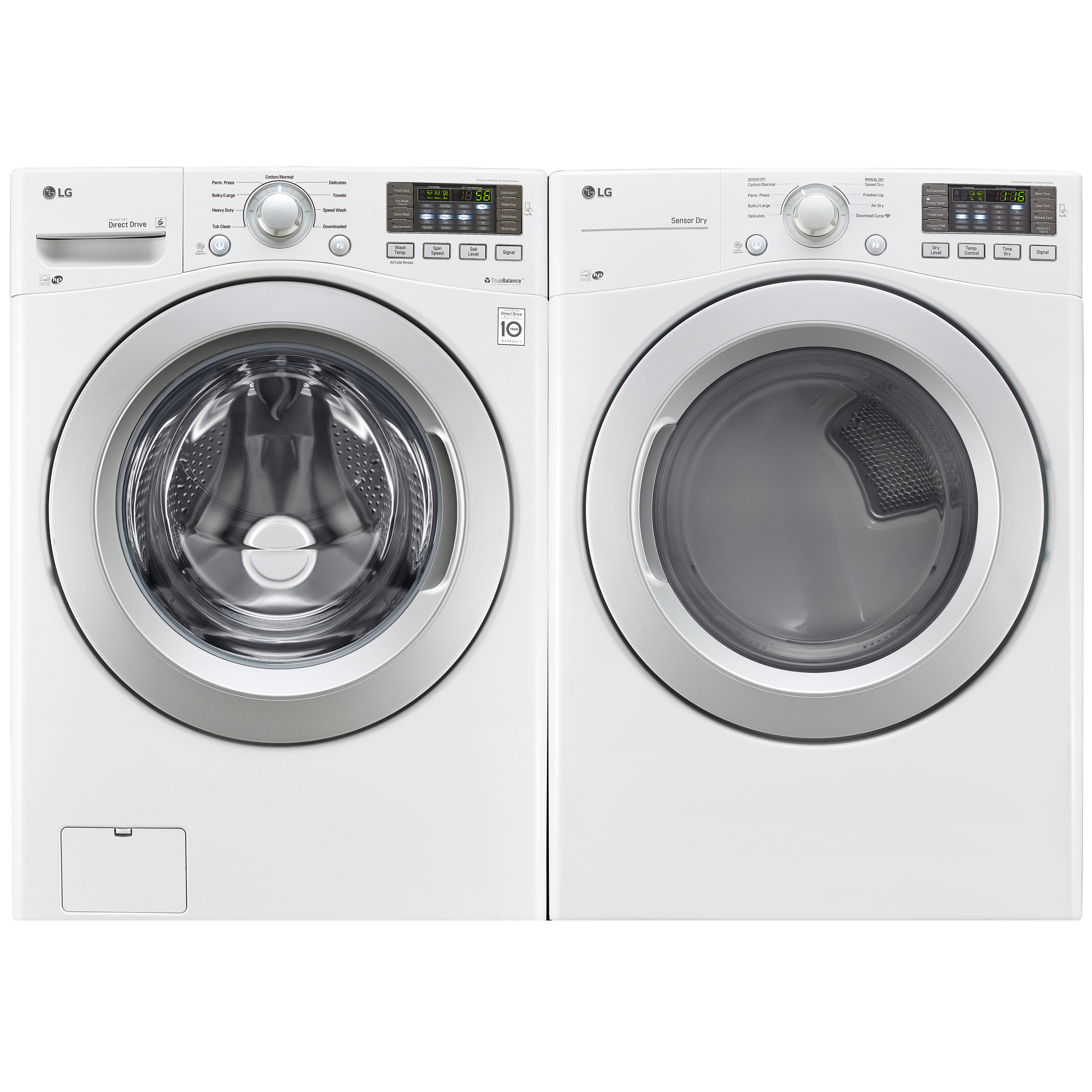 4.5 cu. ft. Capacity Front Load Washer w/Coldwash & 7.4 cu. ft. Dryer w/NFC Tag-On Bundle White