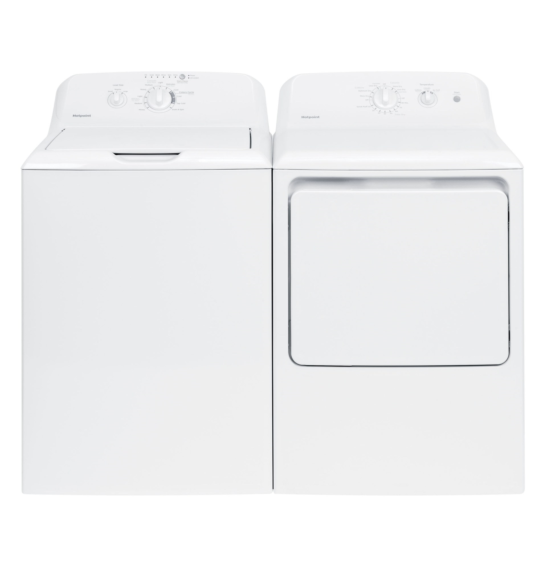 3.8 cu. ft. Top-Load Washer & Gas or Electric Dryer w/ Aluminized Alloy Drum - White