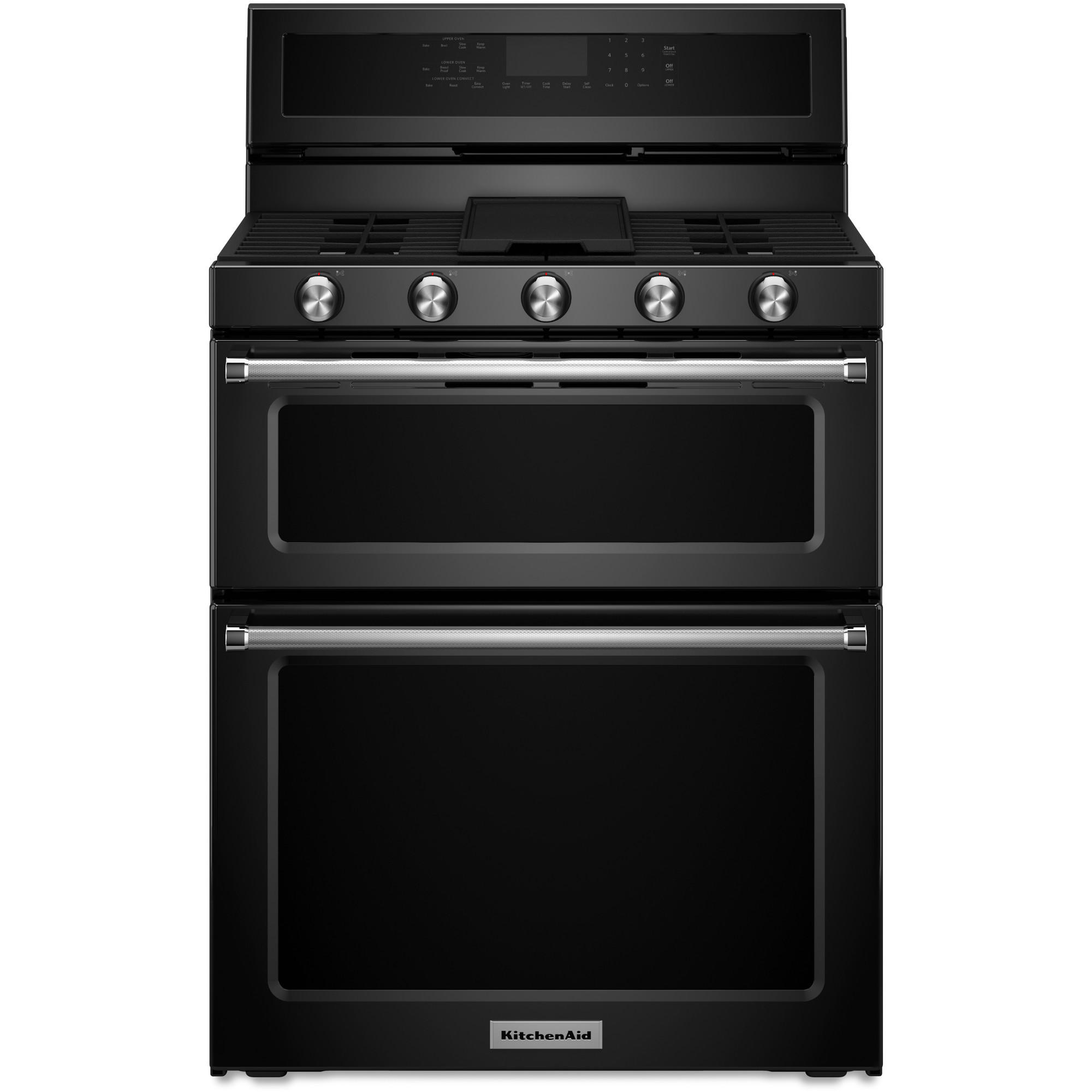 KitchenAid KFGD500EBL 6.0 cu. ft. 5-Burner Gas Double Oven Range - Black