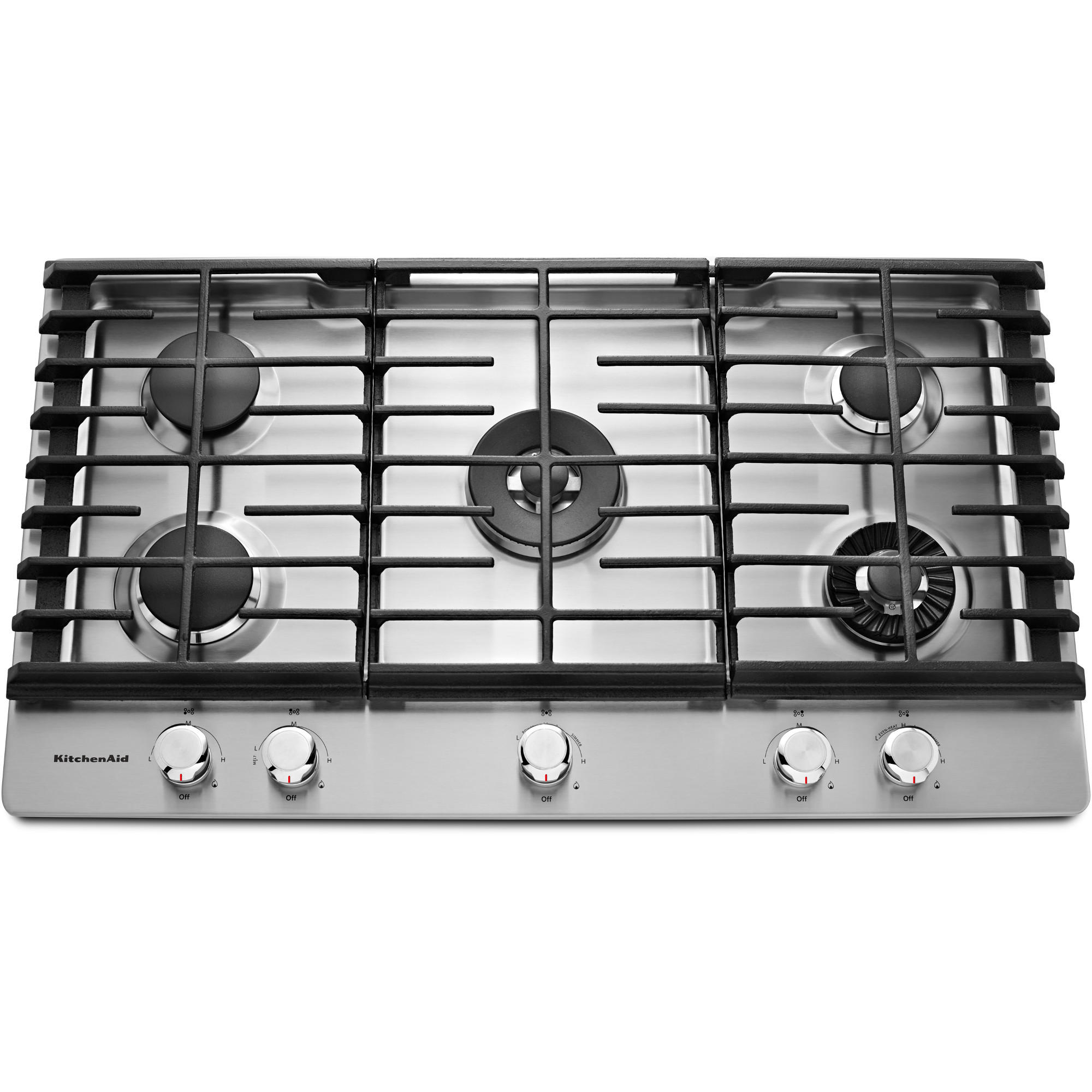 KitchenAid 36 Gas 5 Burner Cooktop w/ Griddle - Stainless Steel