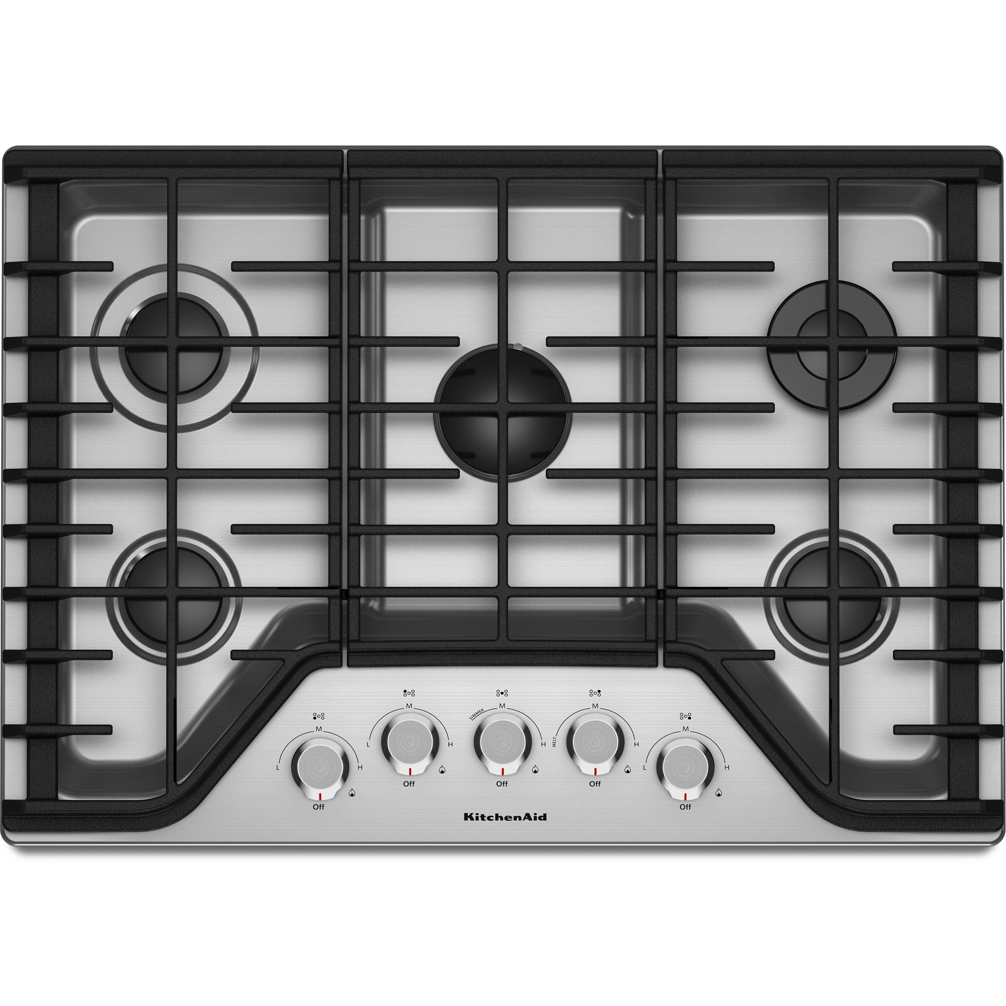 KitchenAid KCGS350ESS 30 Gas Cooktop w/ 5 Burners - Stainless Steel