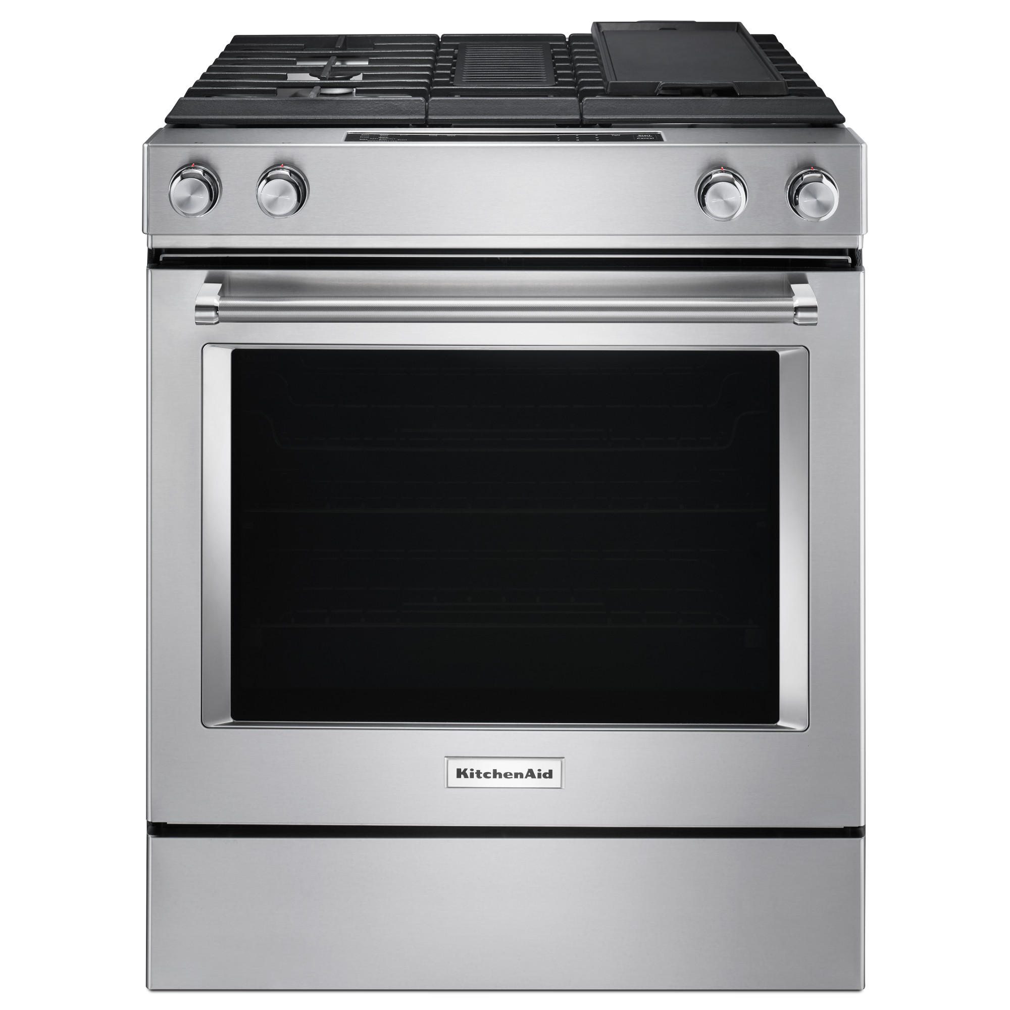 KitchenAid 6.4 cu. ft. 4-Burner Downdraft Dual Fuel Range - Stainless Steel