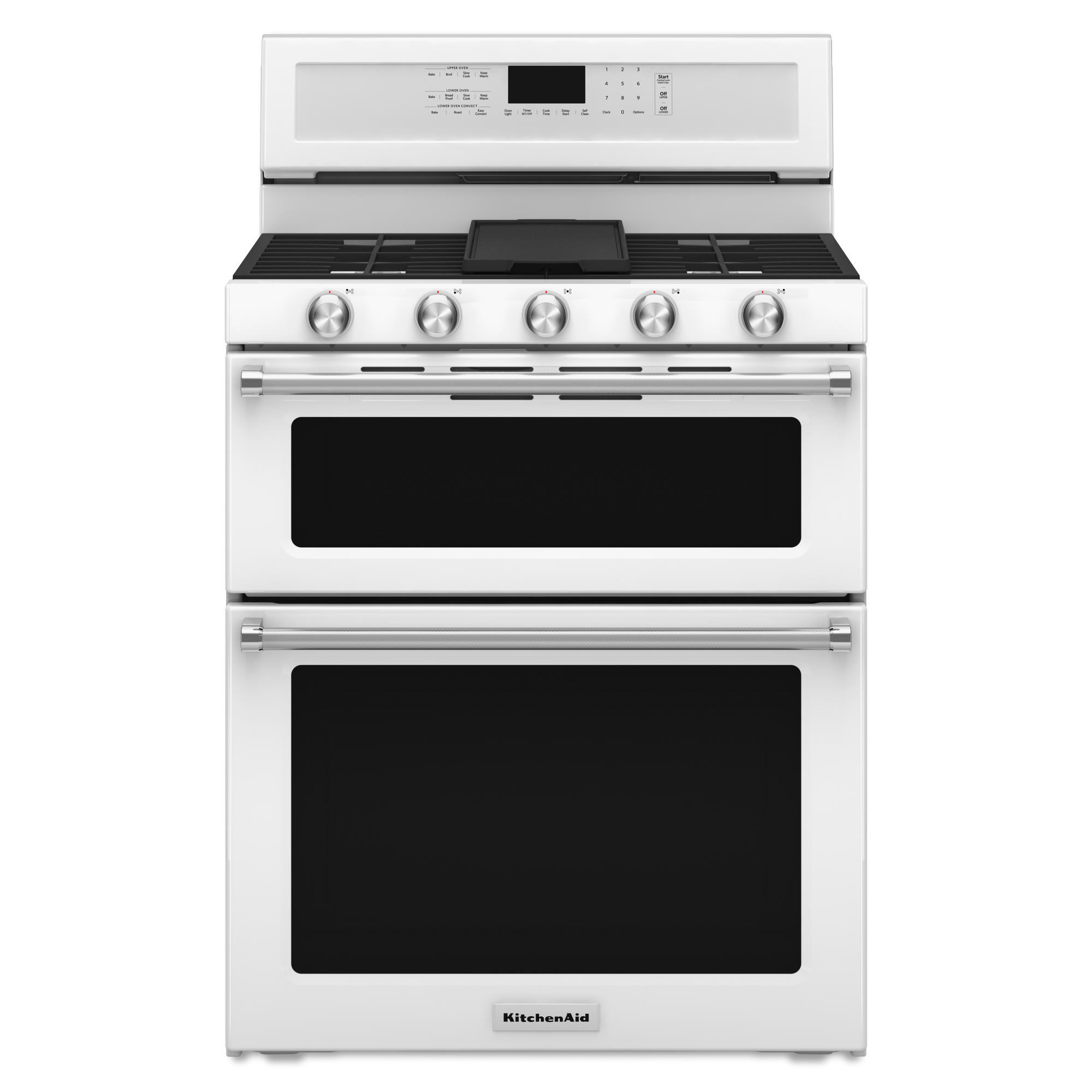 KitchenAid KFGD500EWH 6.0 cu. ft. 5-Burner Gas Double Oven Range - White