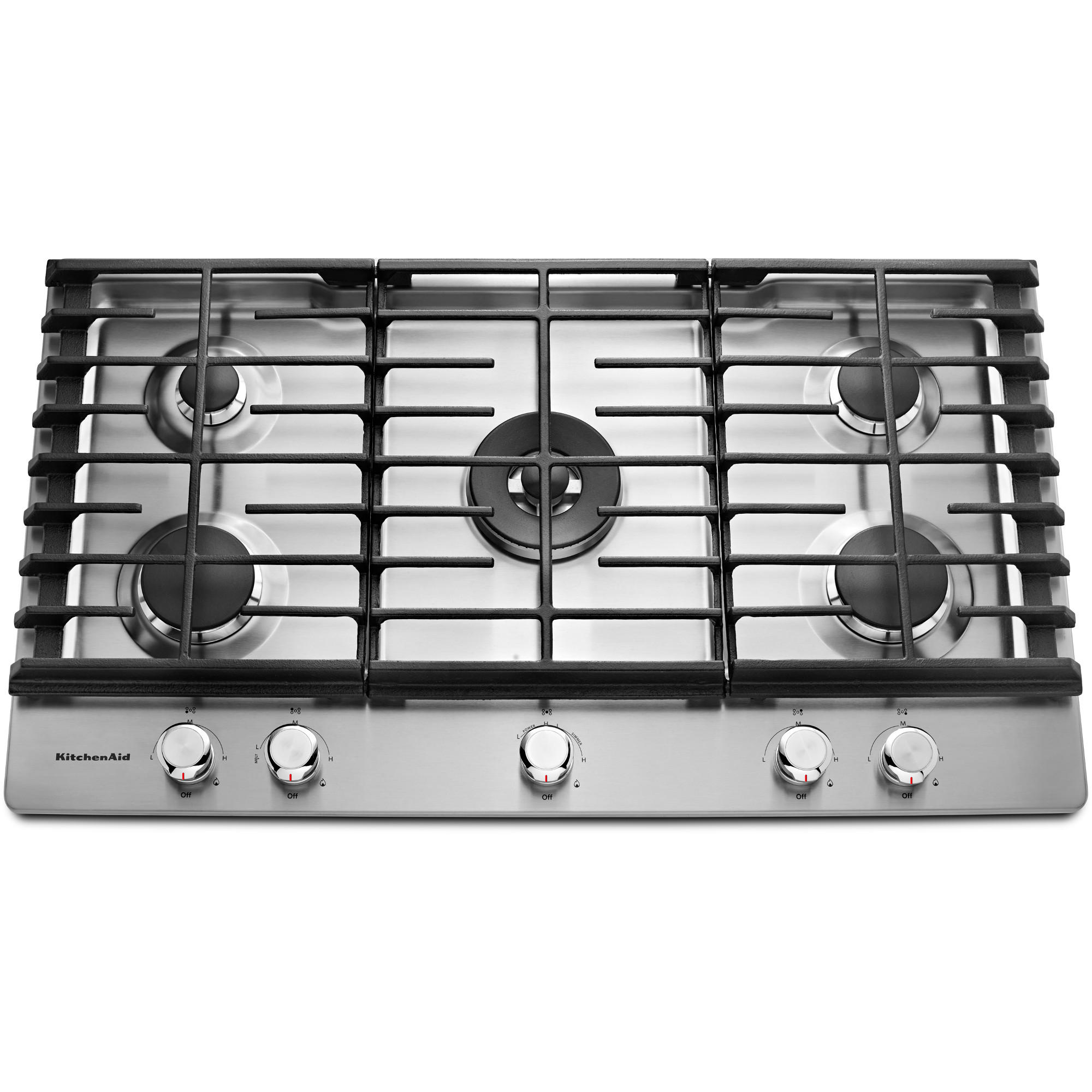 KitchenAid KCGS556ESS 36 Gas Cooktop w/ 20K BTU Professional Dual Ring Burner - Stainless Steel