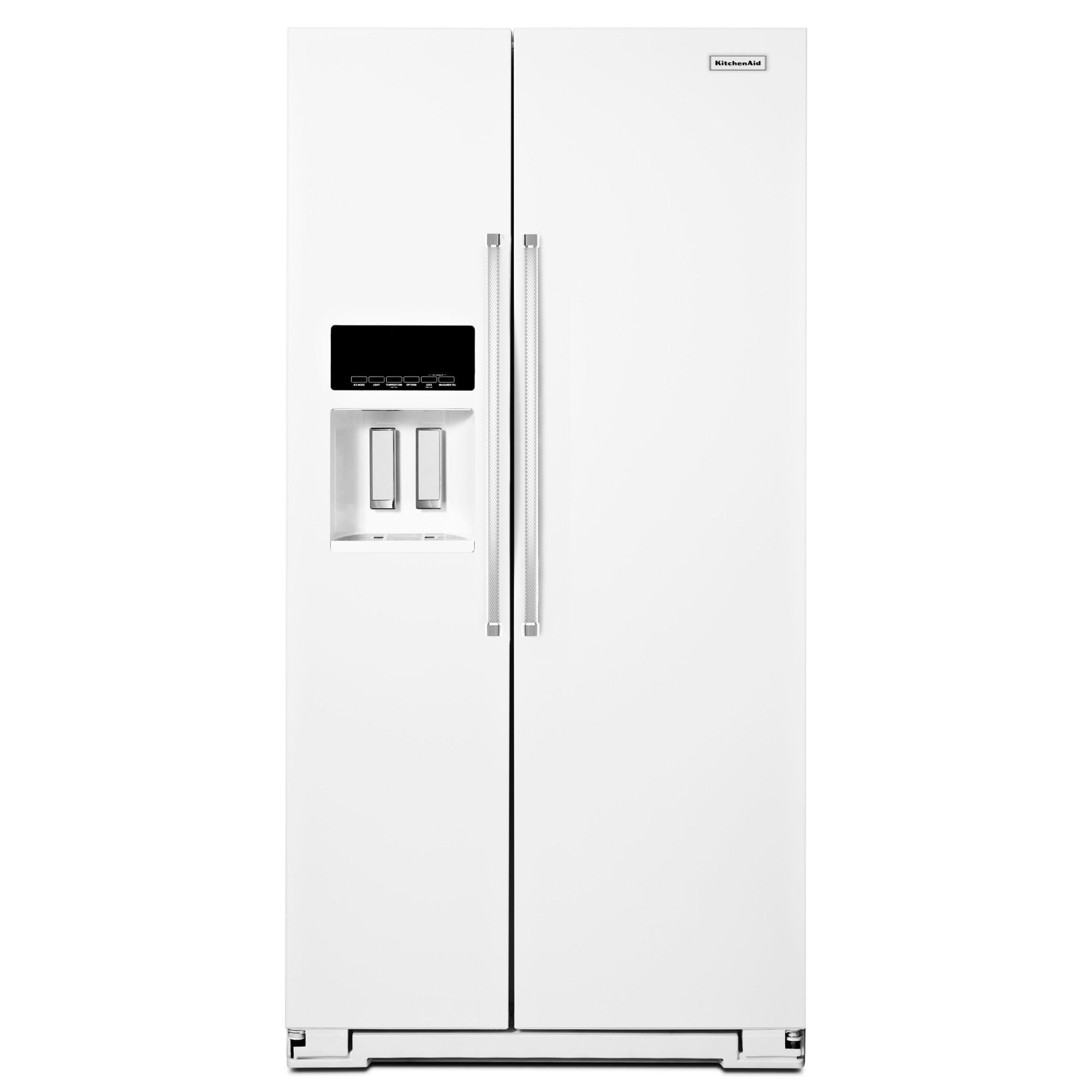 KitchenAid KRSF505EWH 25.6 cu. ft. Side-by-Side Refrigerator - White