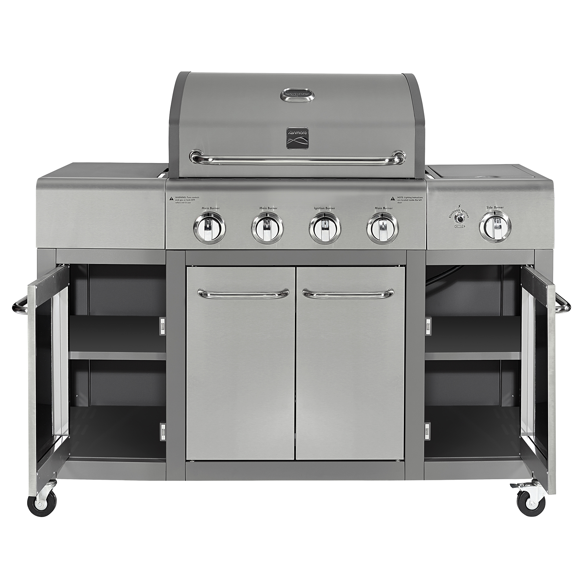 Kenmore 4 Burner Stainless Steel Lid Gas Grill with Storage