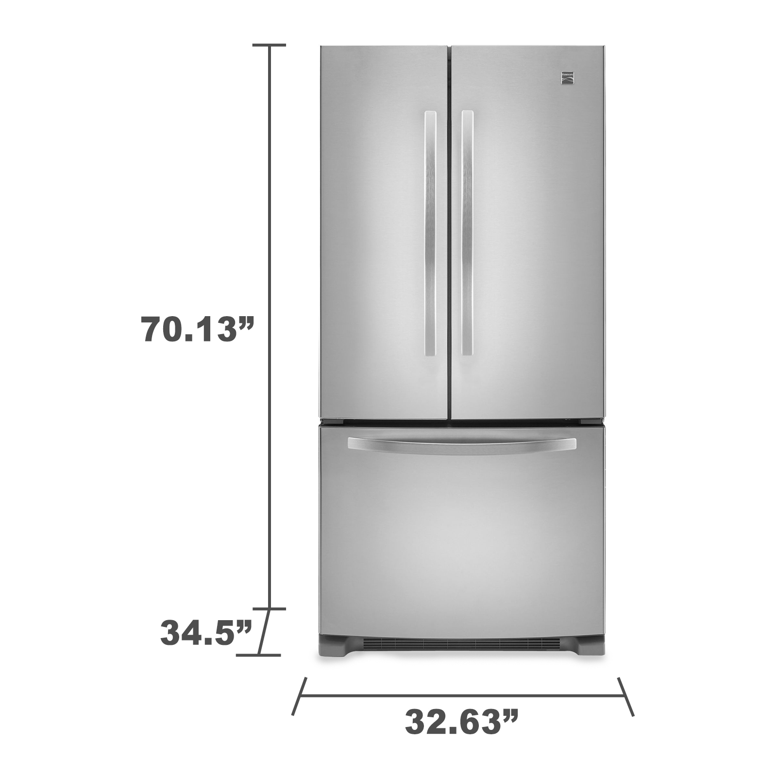Kenmore 72003 22.1 cu. ft. French Door Bottom-Freezer Refrigerator w/Internal Dispenser - Stainless Steel