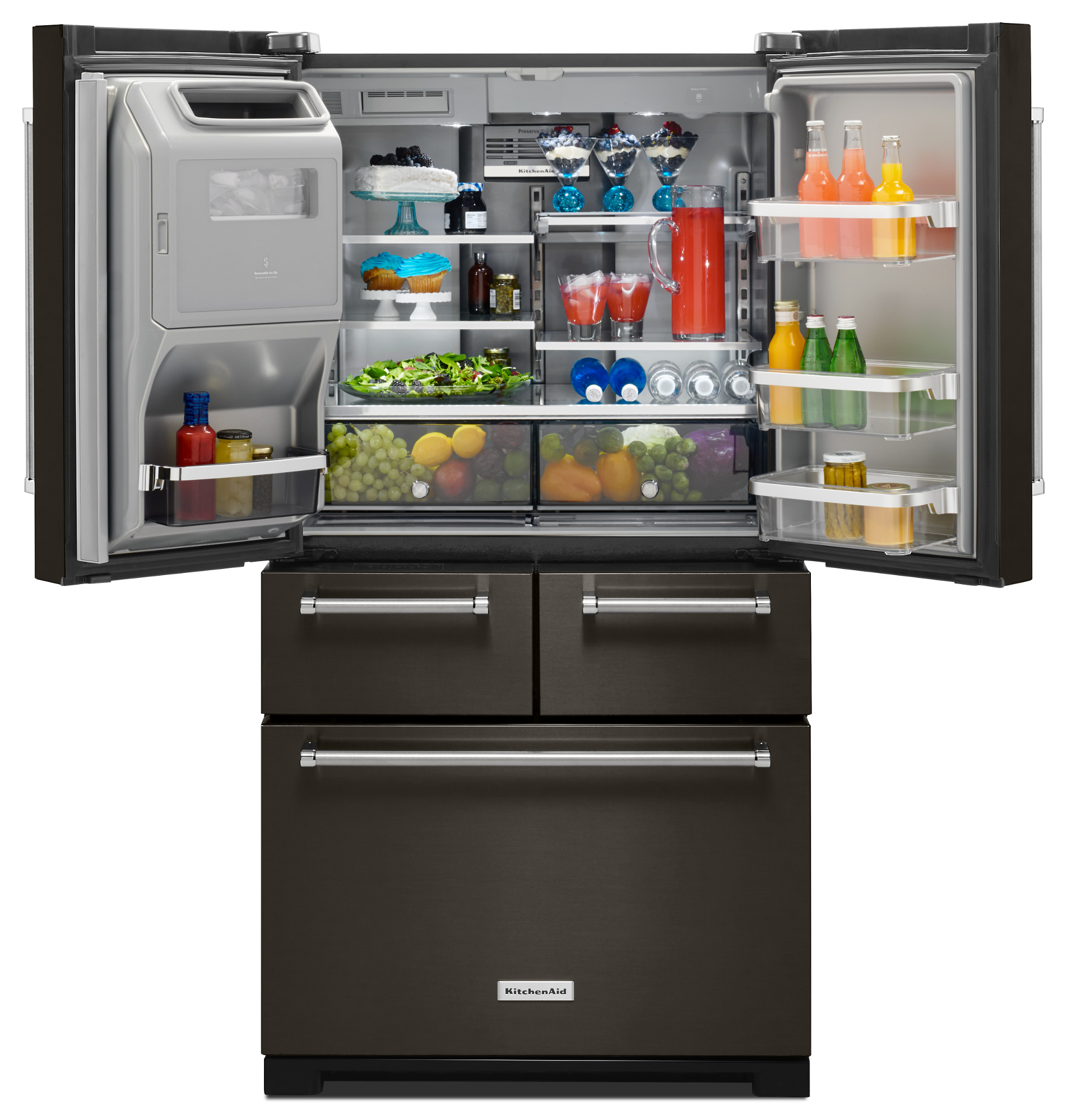 "KitchenAid KRMF706EBS 25.8 cu. ft. 36"" Multi-Door Freestanding Refrigerator - Black Stainless"