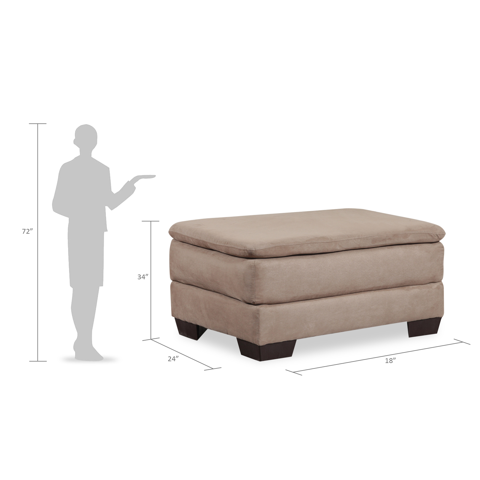 Simmons Upholstery Bixby Traditional Ottoman Only - Latte