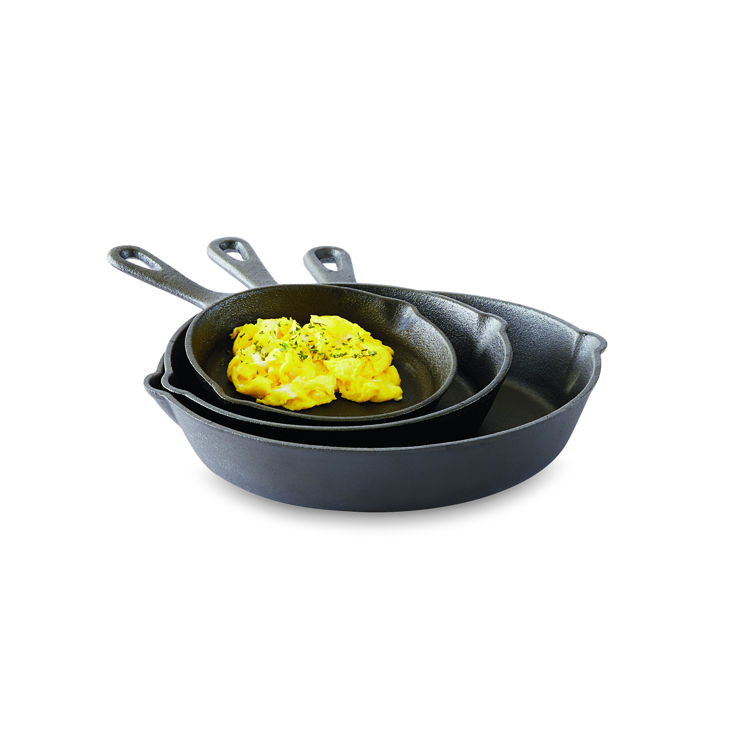 Essential Home 3-Piece Cast Iron Fry Pan Set