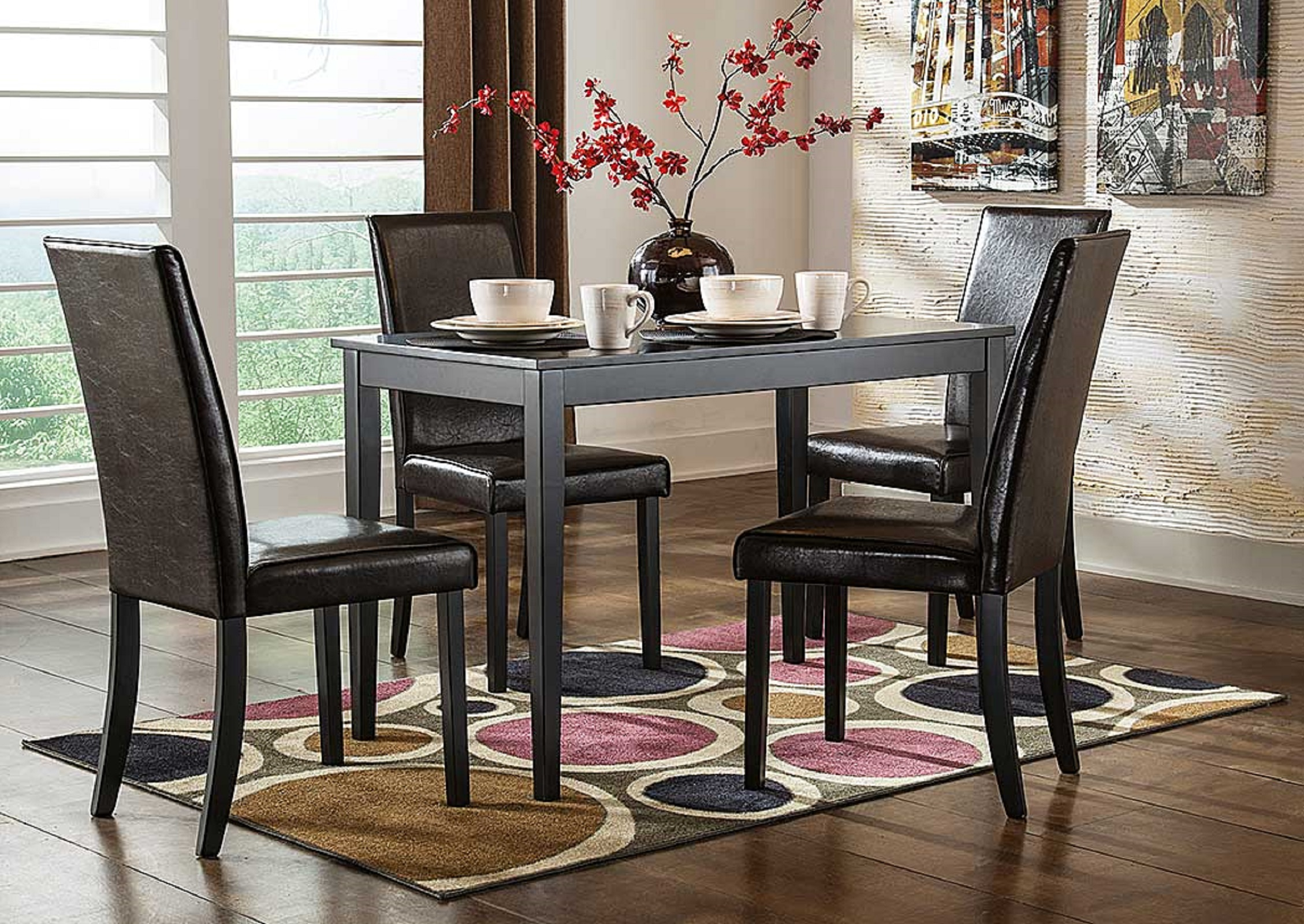 Signature Design by Ashley Kimonte Rectangular Dining Table w/ 4 Dark Brown Chairs