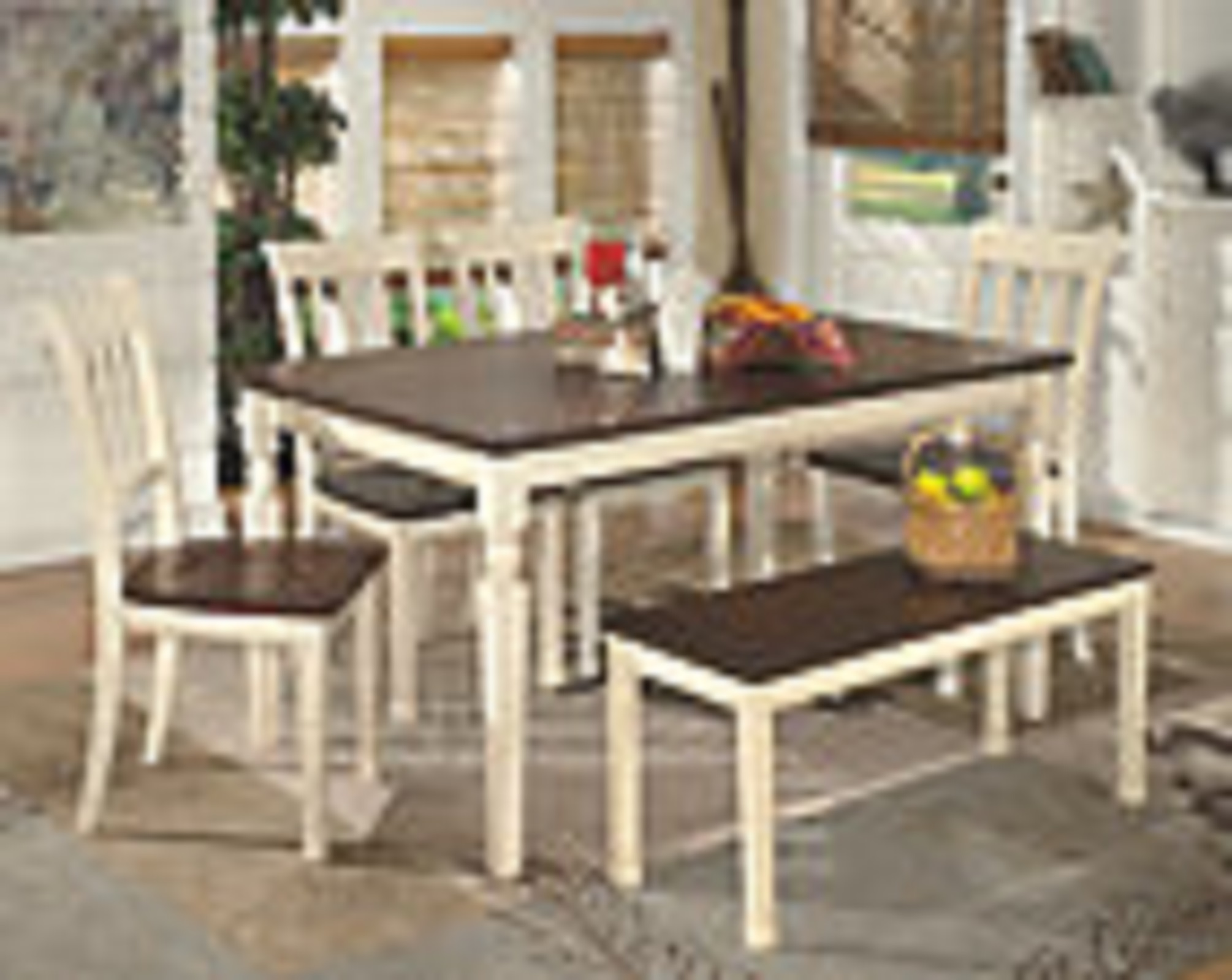 Whitesburg Rectangular Dining Table with 4 Chairs and Bench