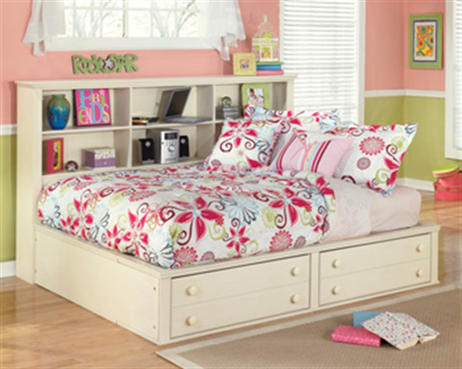 Cottage Retreat Bed with Bookcase - Twin - Cream Cottage