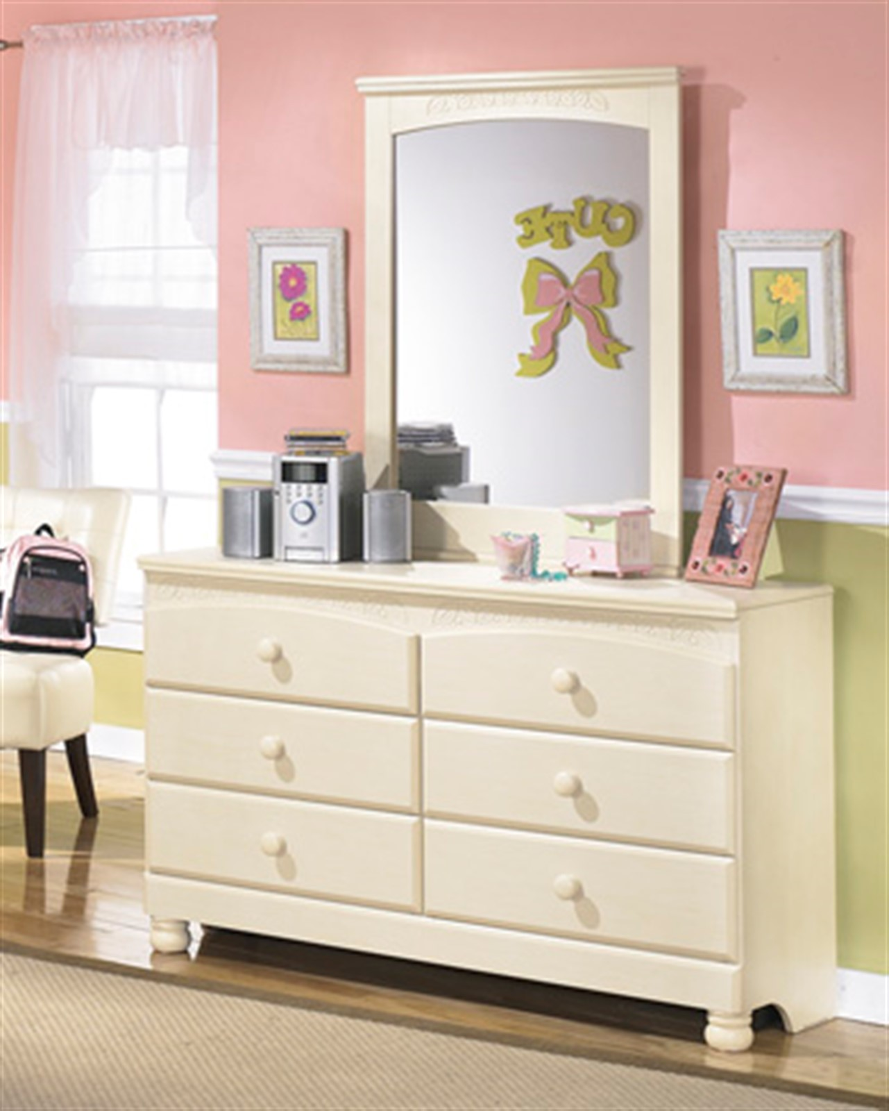 Cottage Retreat Cream Dresser with Mirror