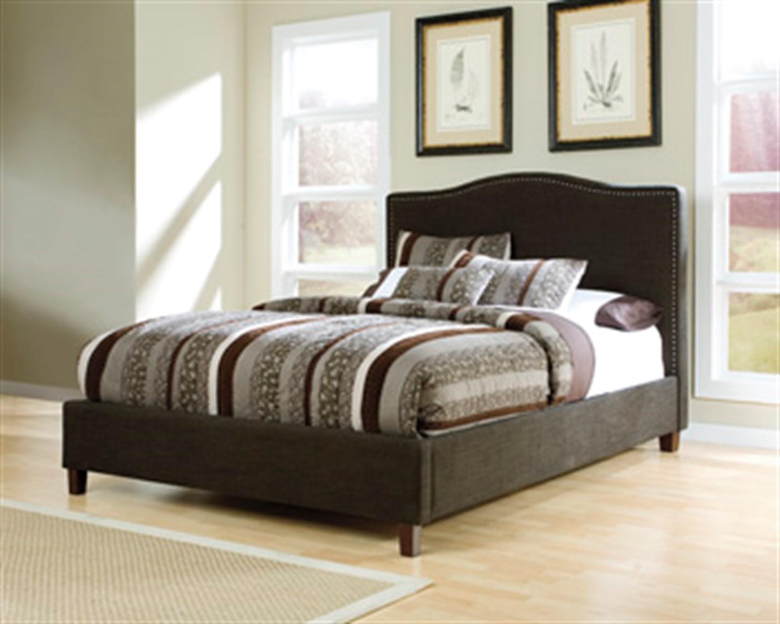 Kasidon Dark Brown Upholstered Queen Bed