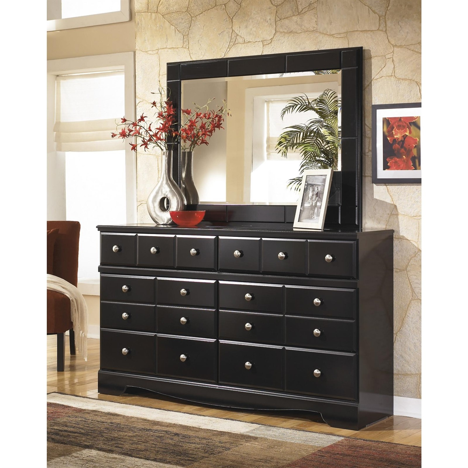 Signature Design by Ashley Shay Almost Black Dresser with Mirror