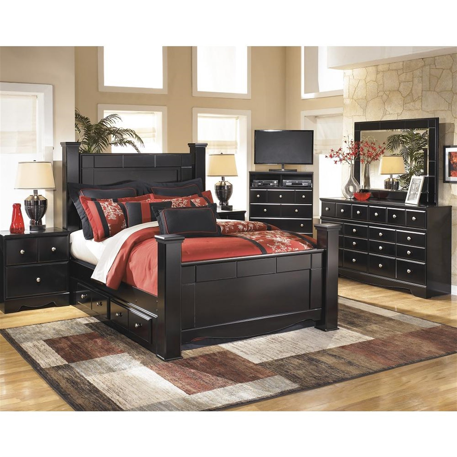 Shay Almost Black Queen Bed with Under Bed Storage and Posts