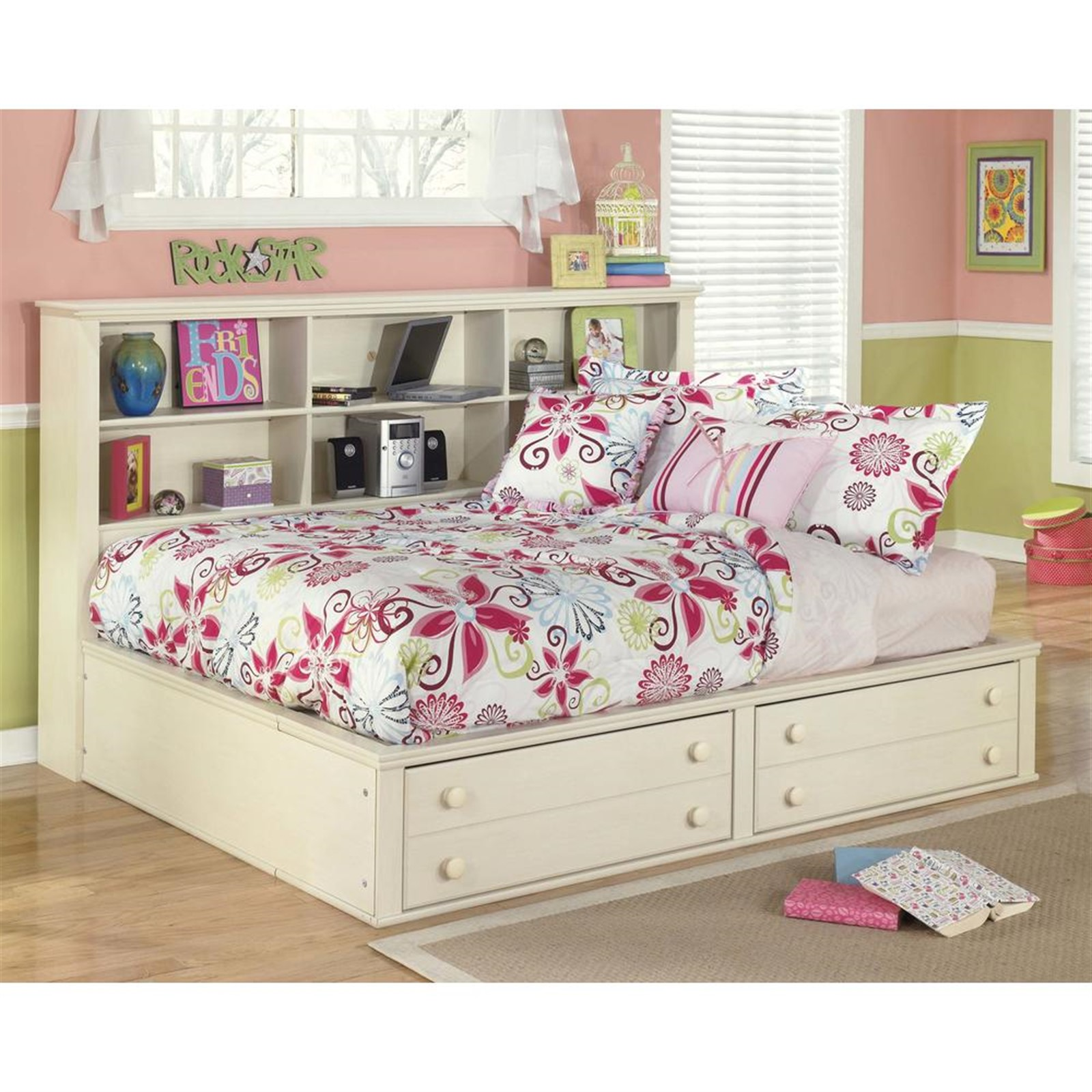 Cottage Retreat Cream Full Bed with Bookcase Headboard