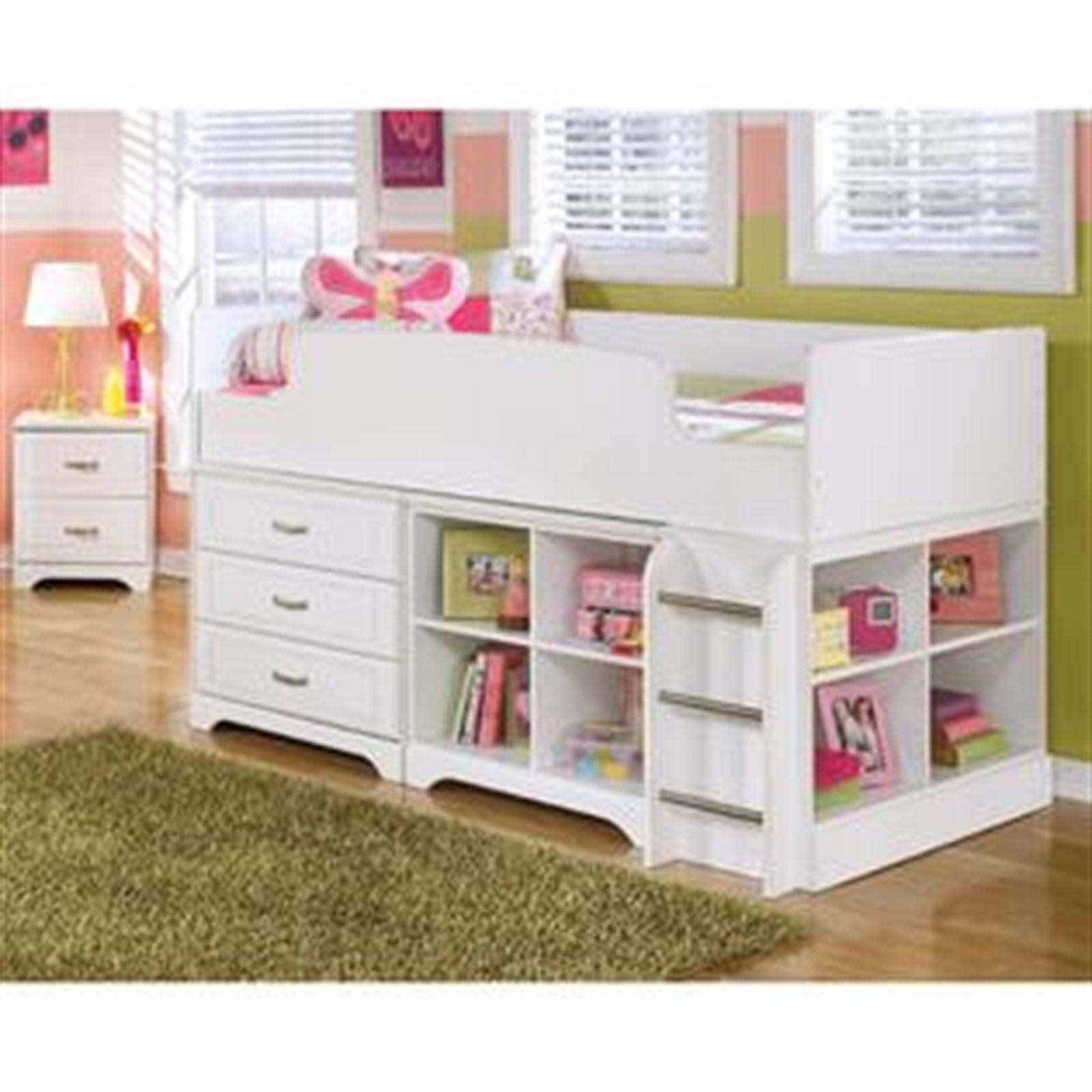 Lulu Loft Bed with Storage - Twin - White