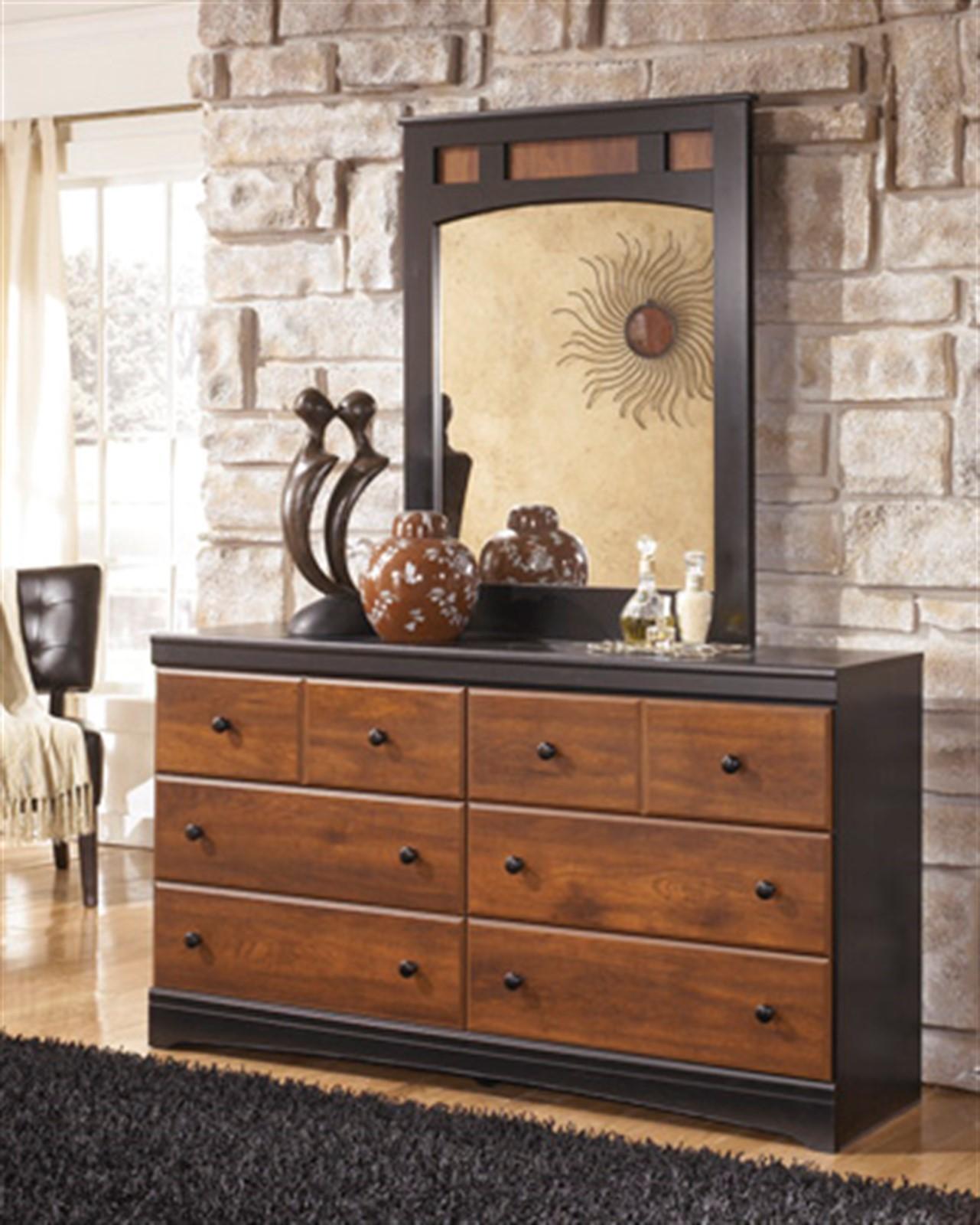 Aimwell Dresser and Mirror Set - Dark Brown