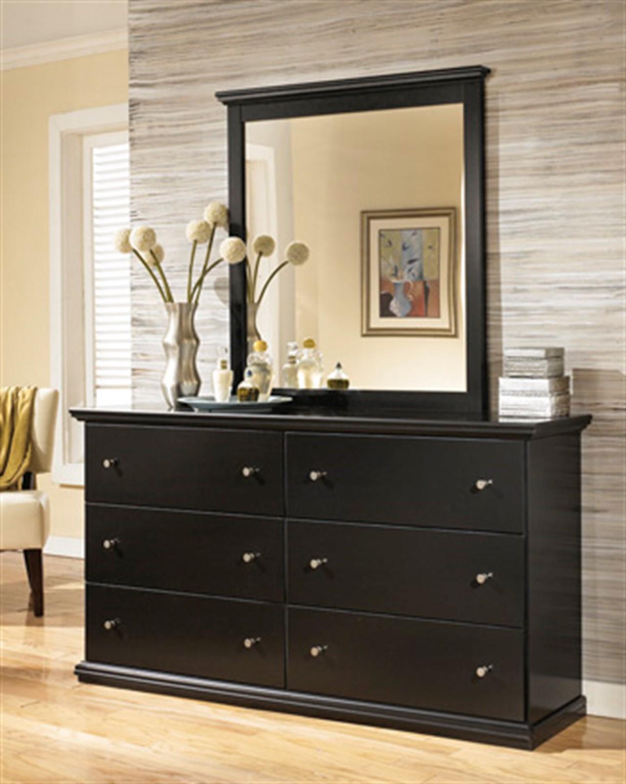 Maribel Dresser and Mirror Set - Black