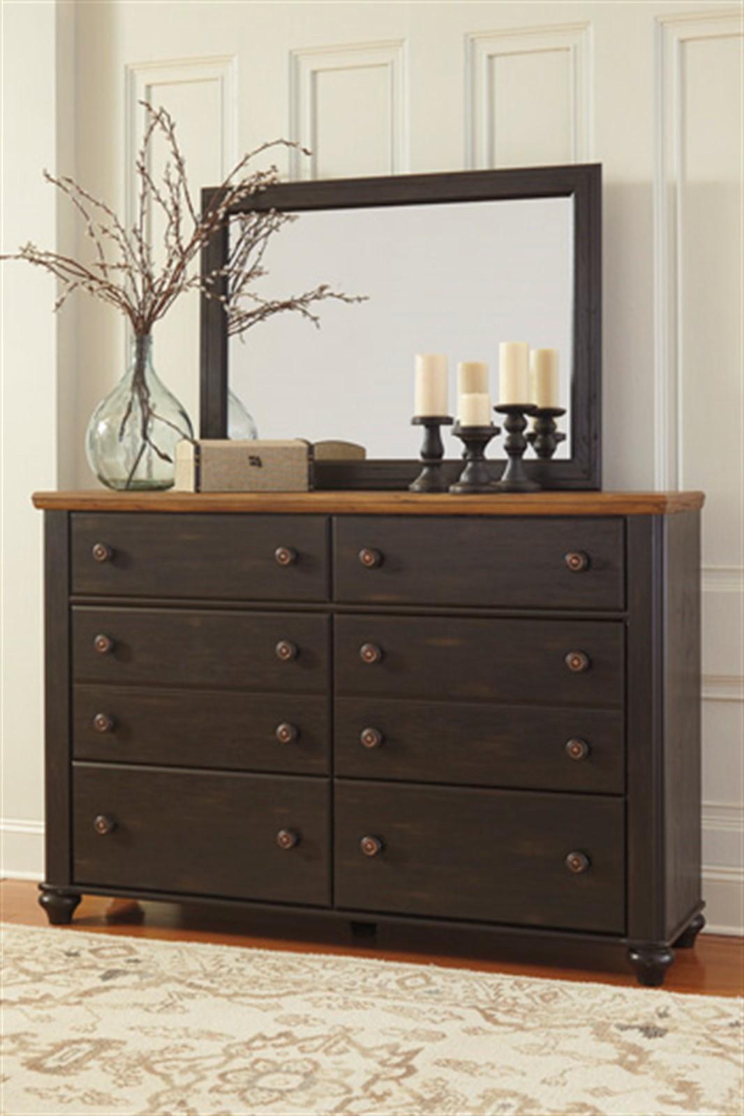 Maxington Dresser and Mirror Set- Black/Reddish Brown