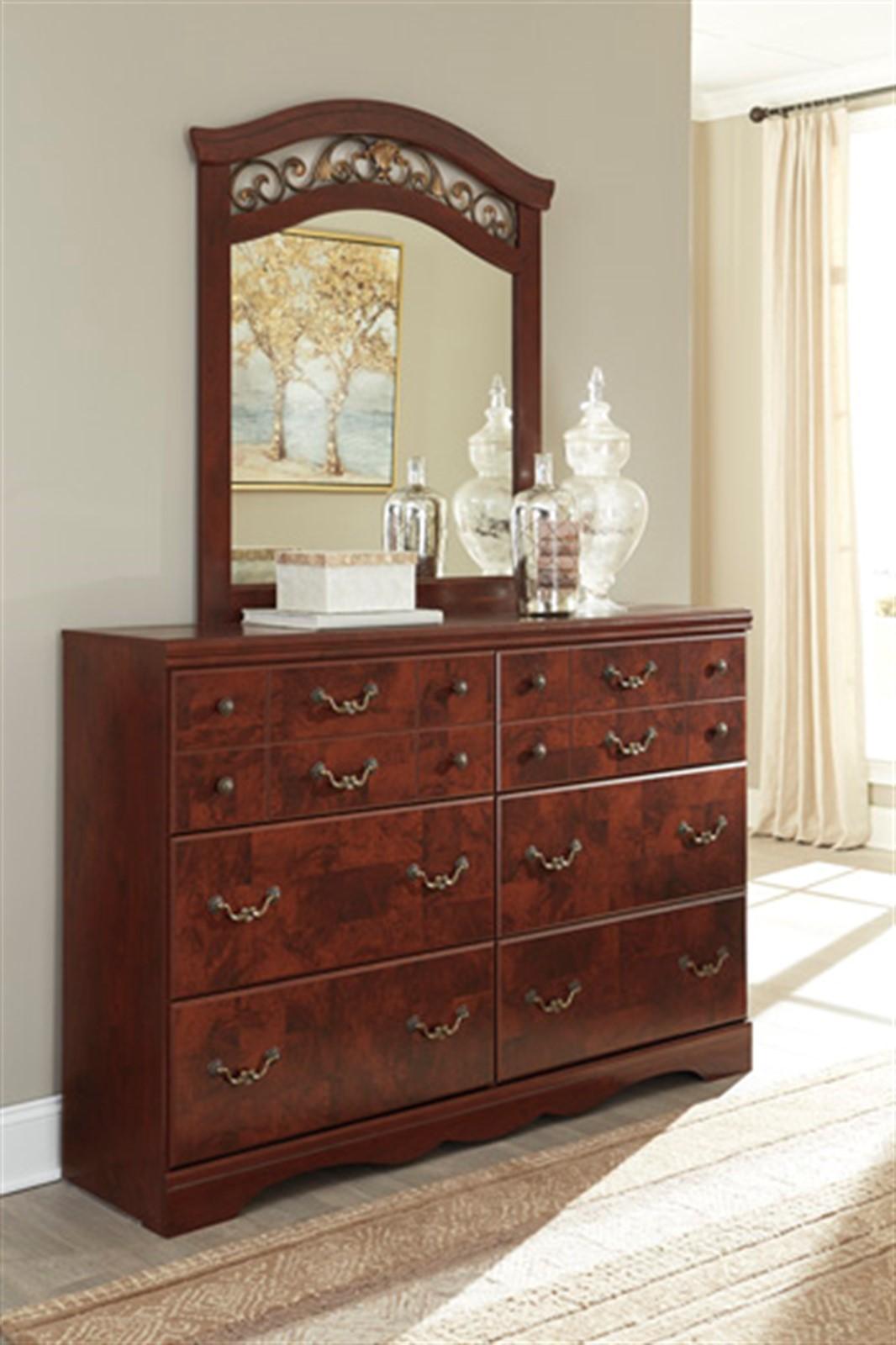 Delianna Dresser and Mirror Set - Reddish Brown