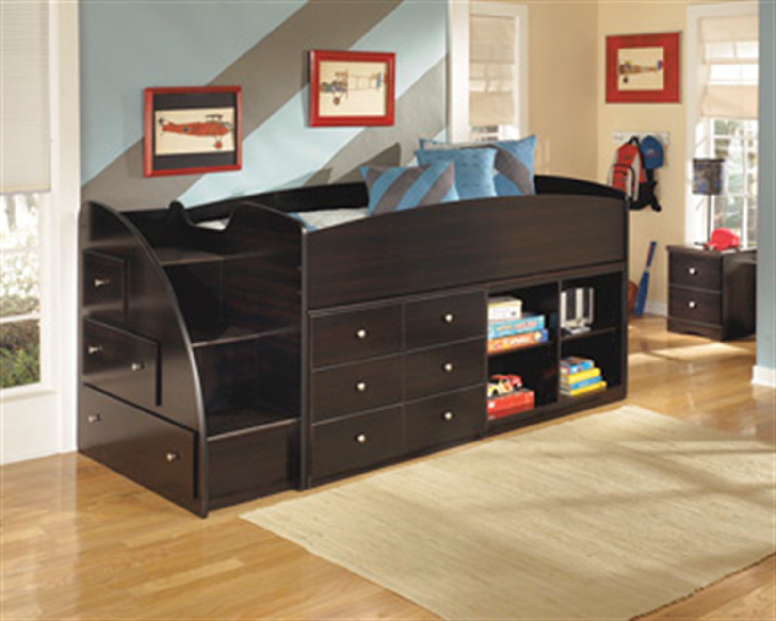 Embrace Loft Bed with Storage and Bookcase - Twin - Merlot
