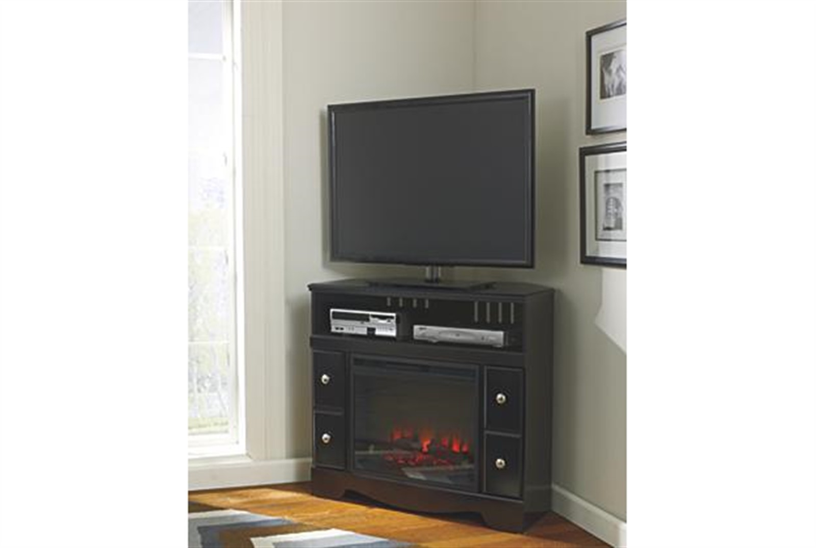 Signature Design by Ashley Quinden Media Chest with Fireplace Insert - Dark Brown