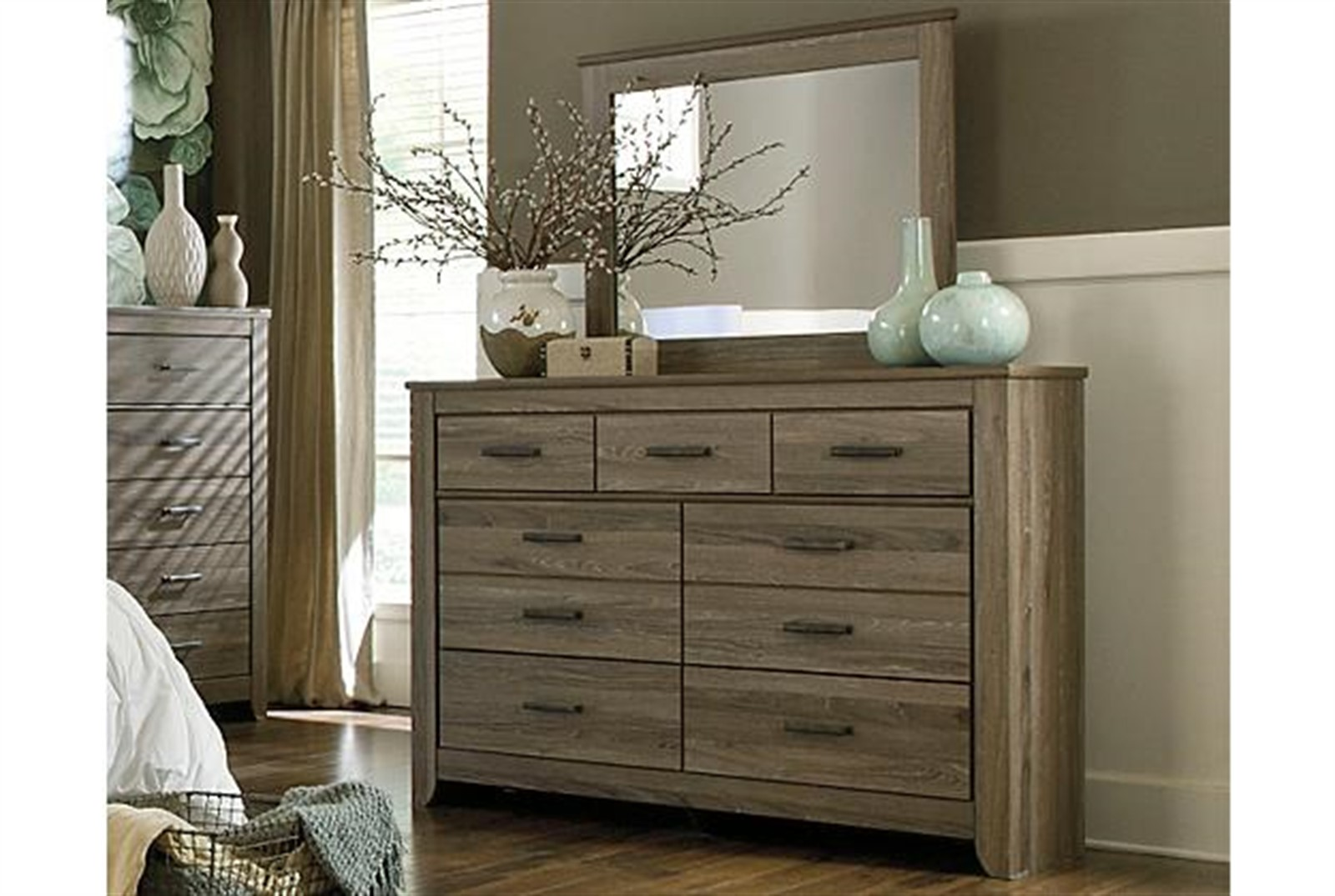 Zelen Dresser and Mirror Set - Warm Grey