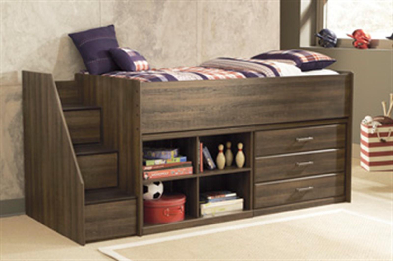 Juararo Loft Bed with Storage and Bookcase - Twin - Dark Brown