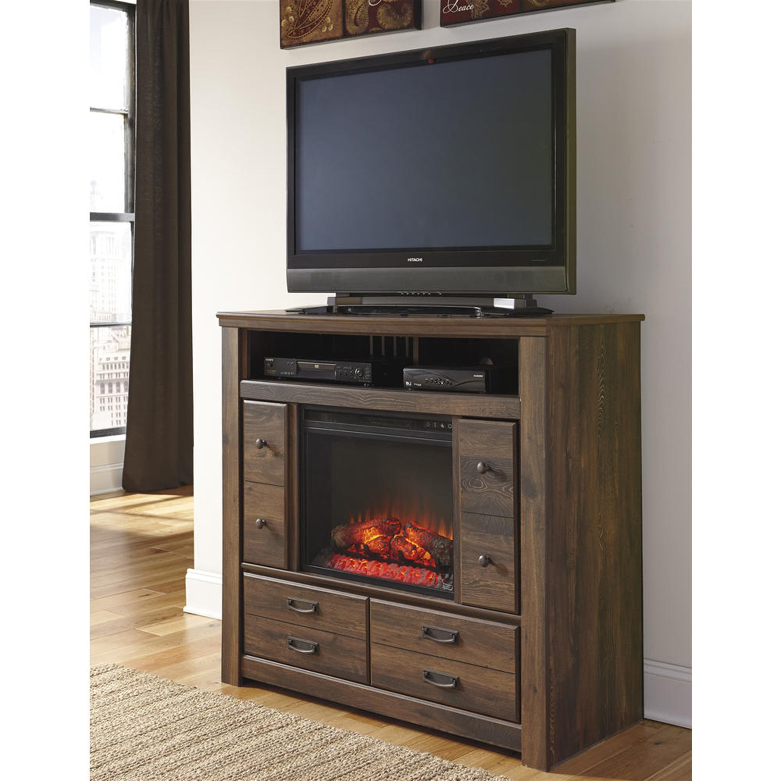 Signature Design by Ashley Juararo Media Chest with Fireplace Insert - Dark Brown