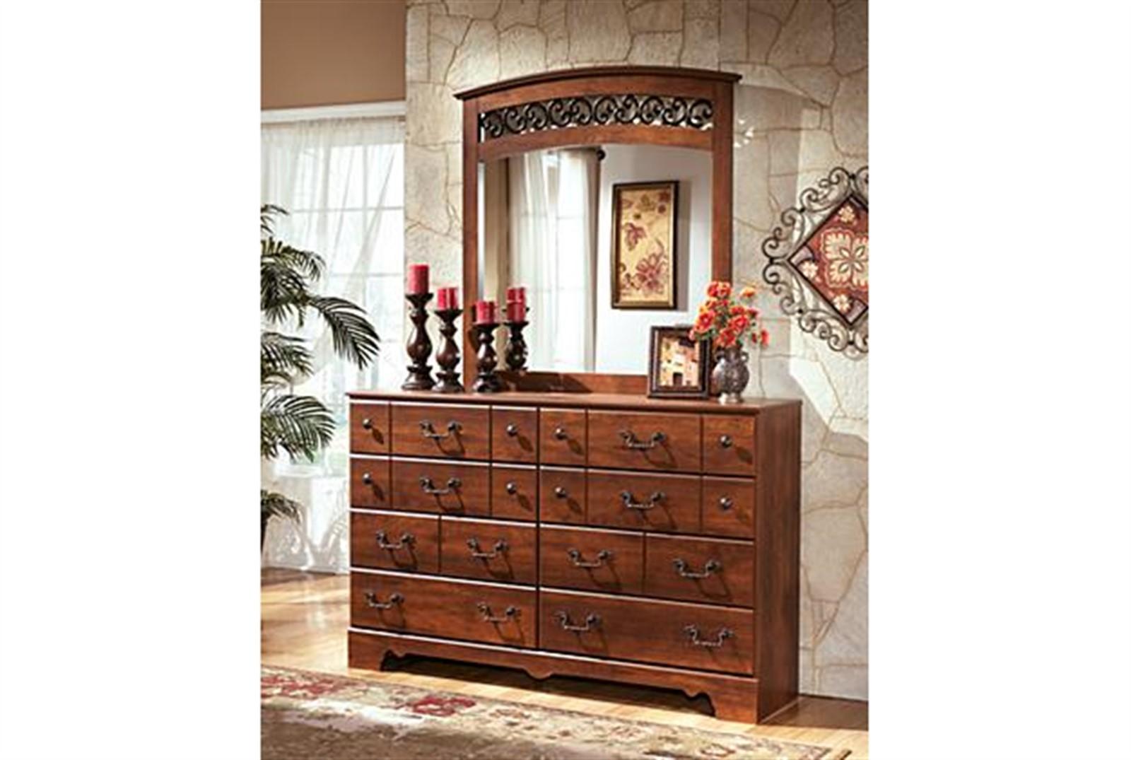 Timberline Dresser and Mirror Set - Warm Brown