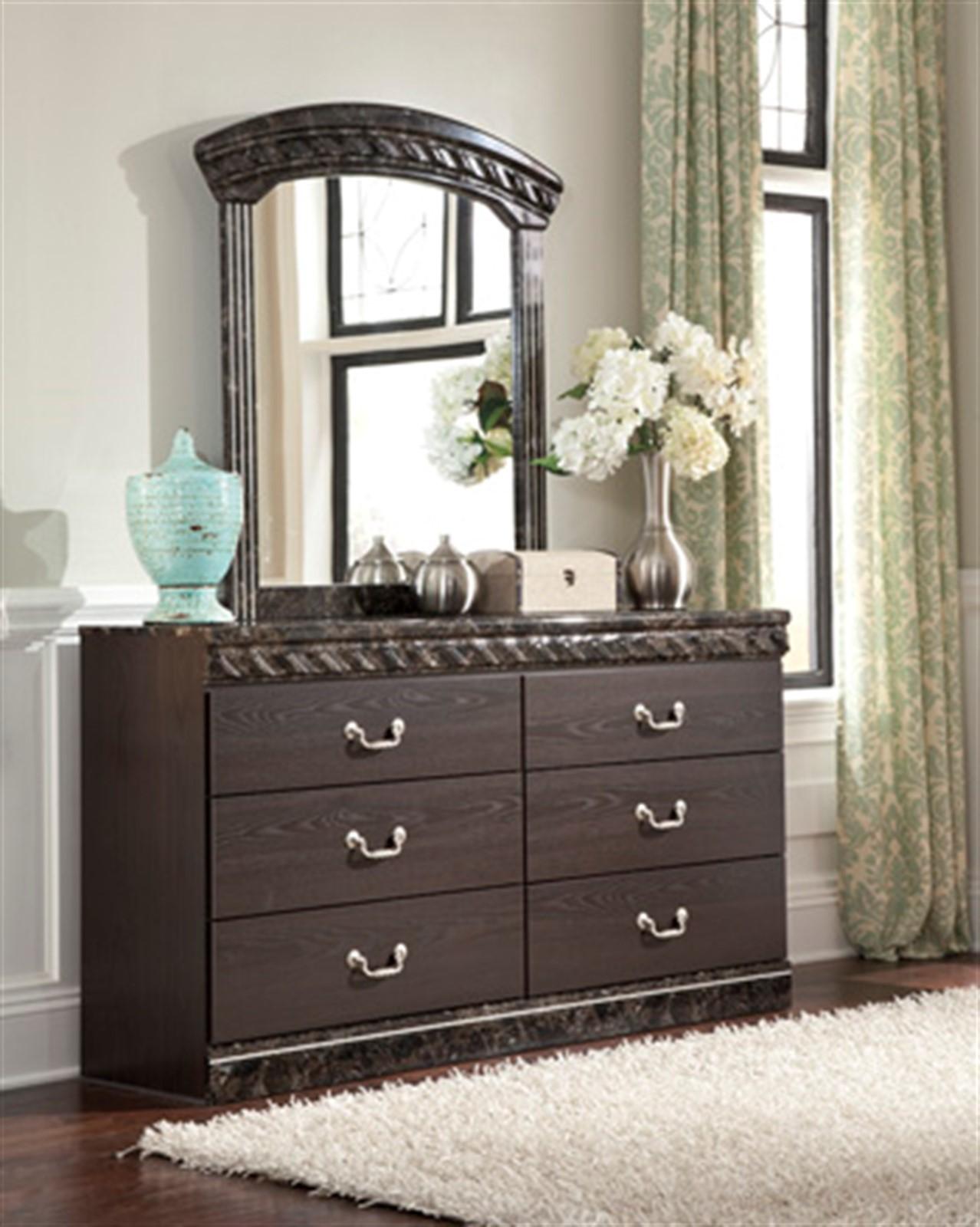 Vachel Dresser and Mirror Set - Dark Brown