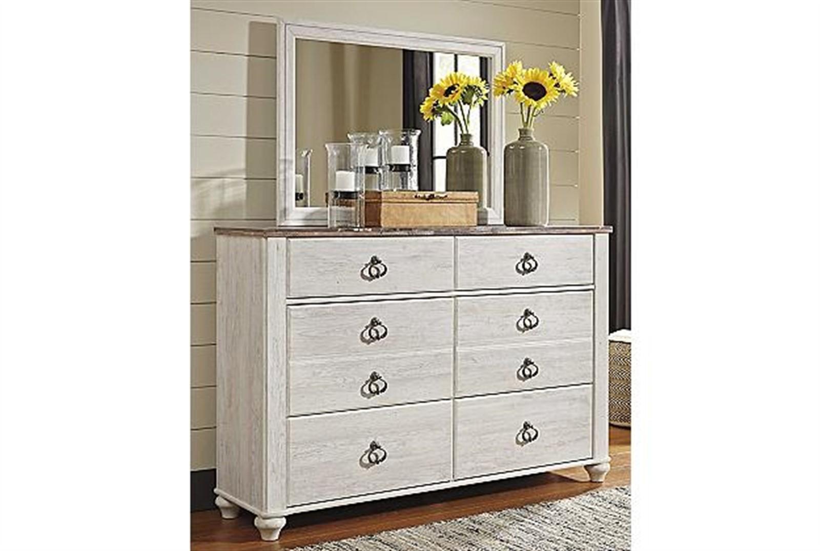 Willowton Dresser and Mirror Set - Whitewash