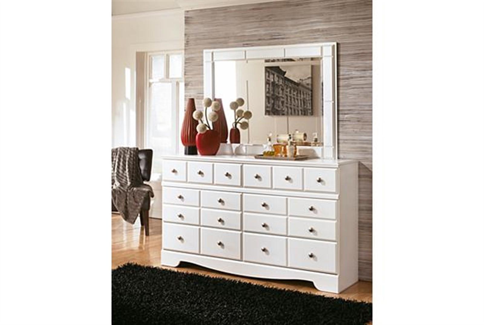 Weeki Dresser and Mirror Set - White