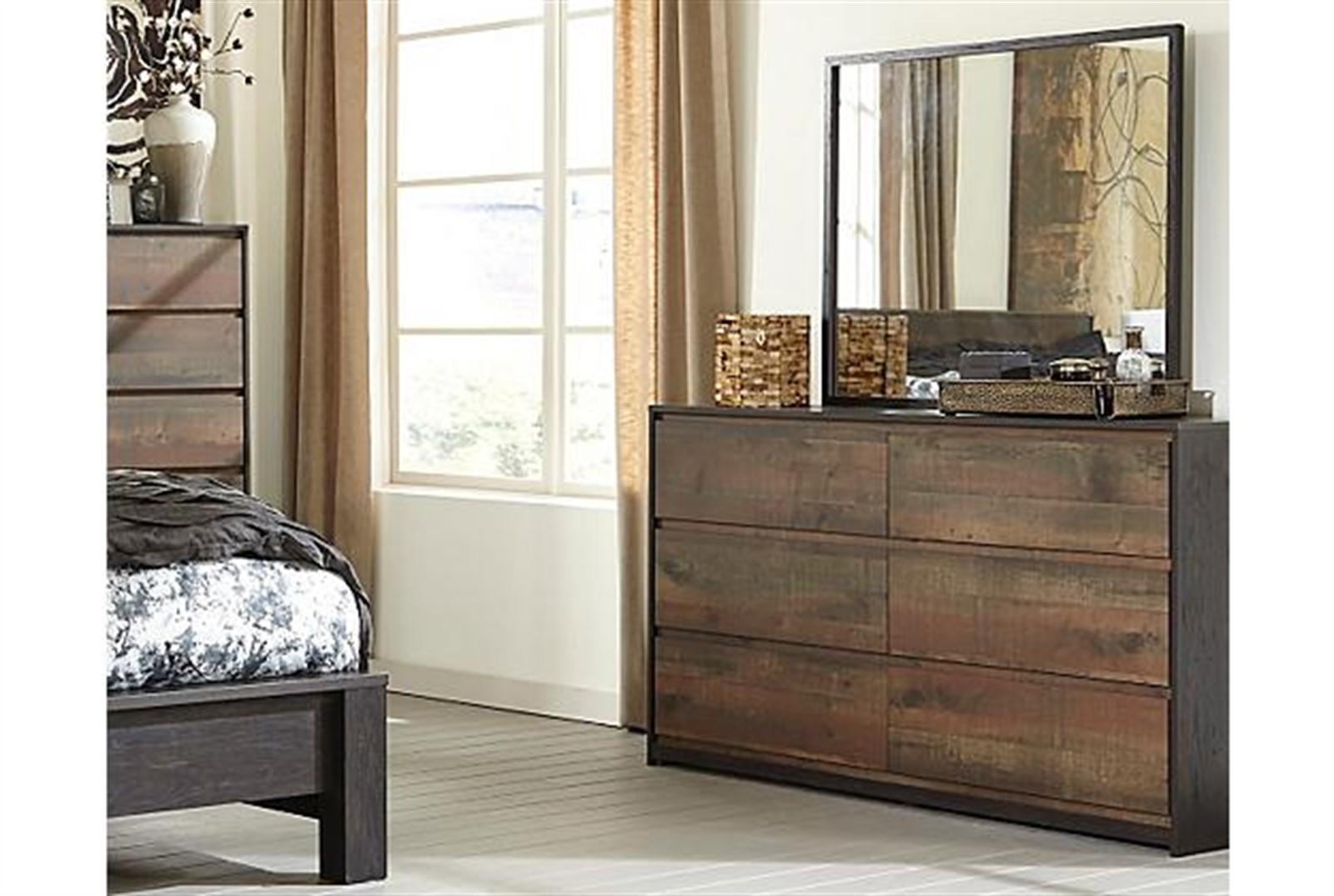 Windlore Dresser and Mirror Set - Dark Brown