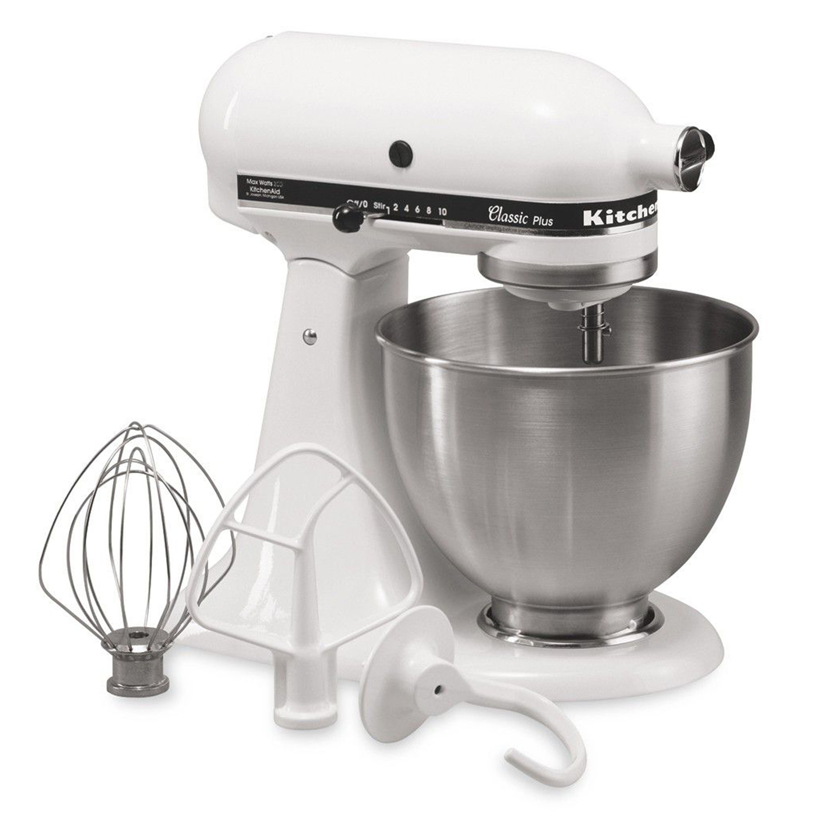 KitchenAid KSM75WH Classic Plus 4.5 Quart Stand Mixer - White