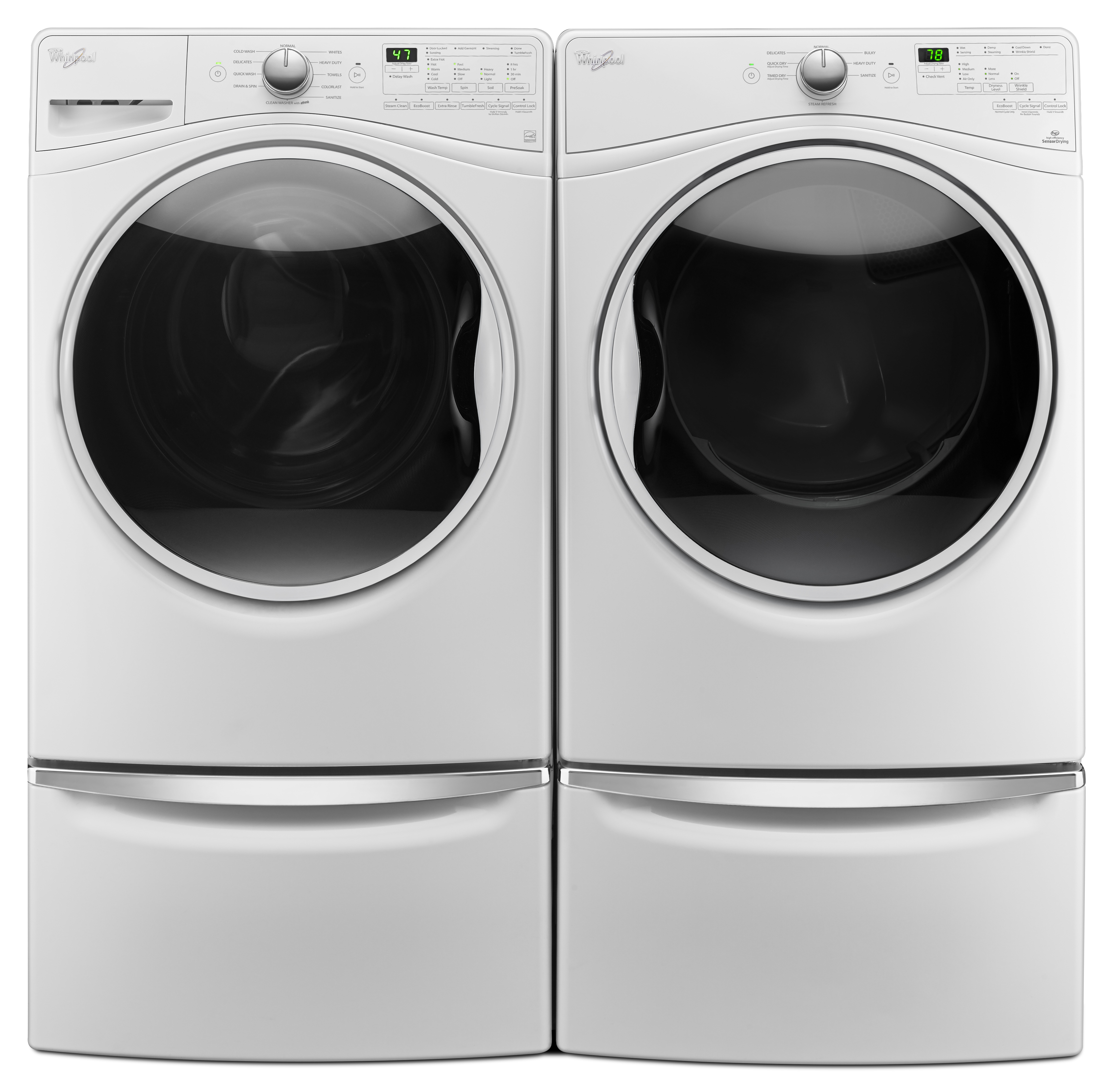 4.5 cu. ft. Front-Load Washer & 7.4 cu. ft. Gas or Electric Dryer with Optional Pedestal
