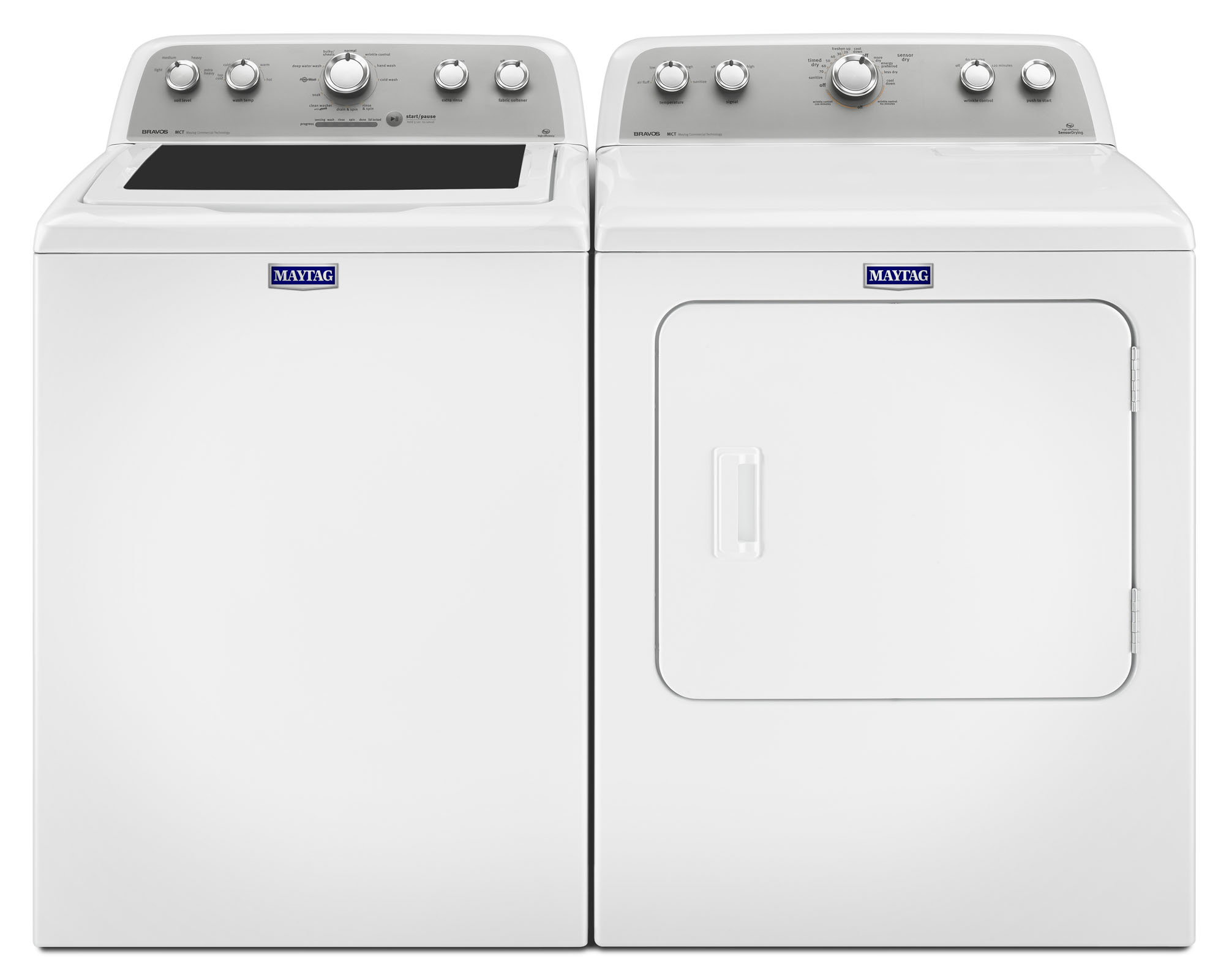 4.3 cu. ft. Bravos® Top Load Washer w/ PowerWash® System & 7.0 cu. ft. Dryer w/ Sanitize Cycle