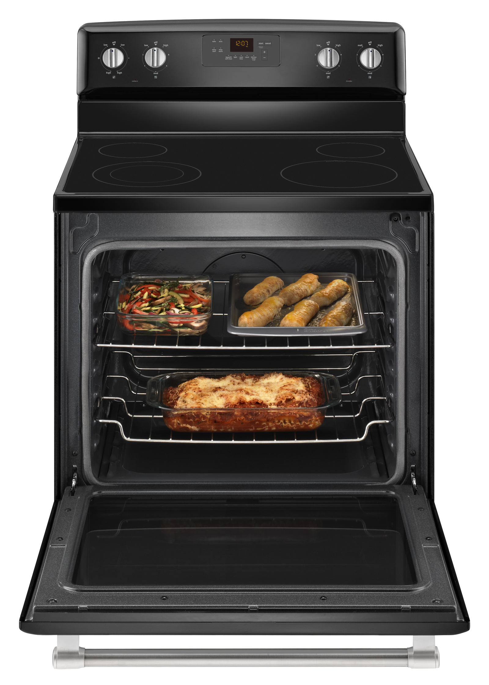 Maytag MER8600DE 6.2 cu. ft. Electric Range w/ Dual Element - Black w/ Stainless Handle