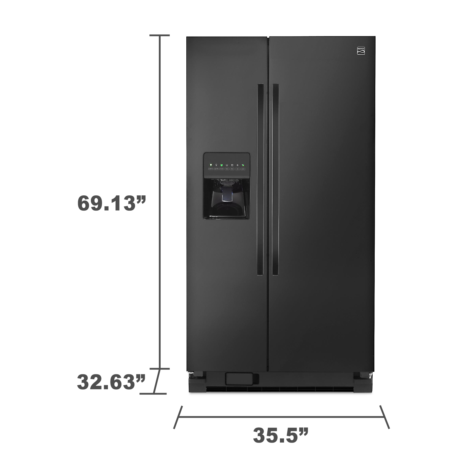 Kenmore 51129 25 cu. ft. Side-by-Side Refrigerator - Black