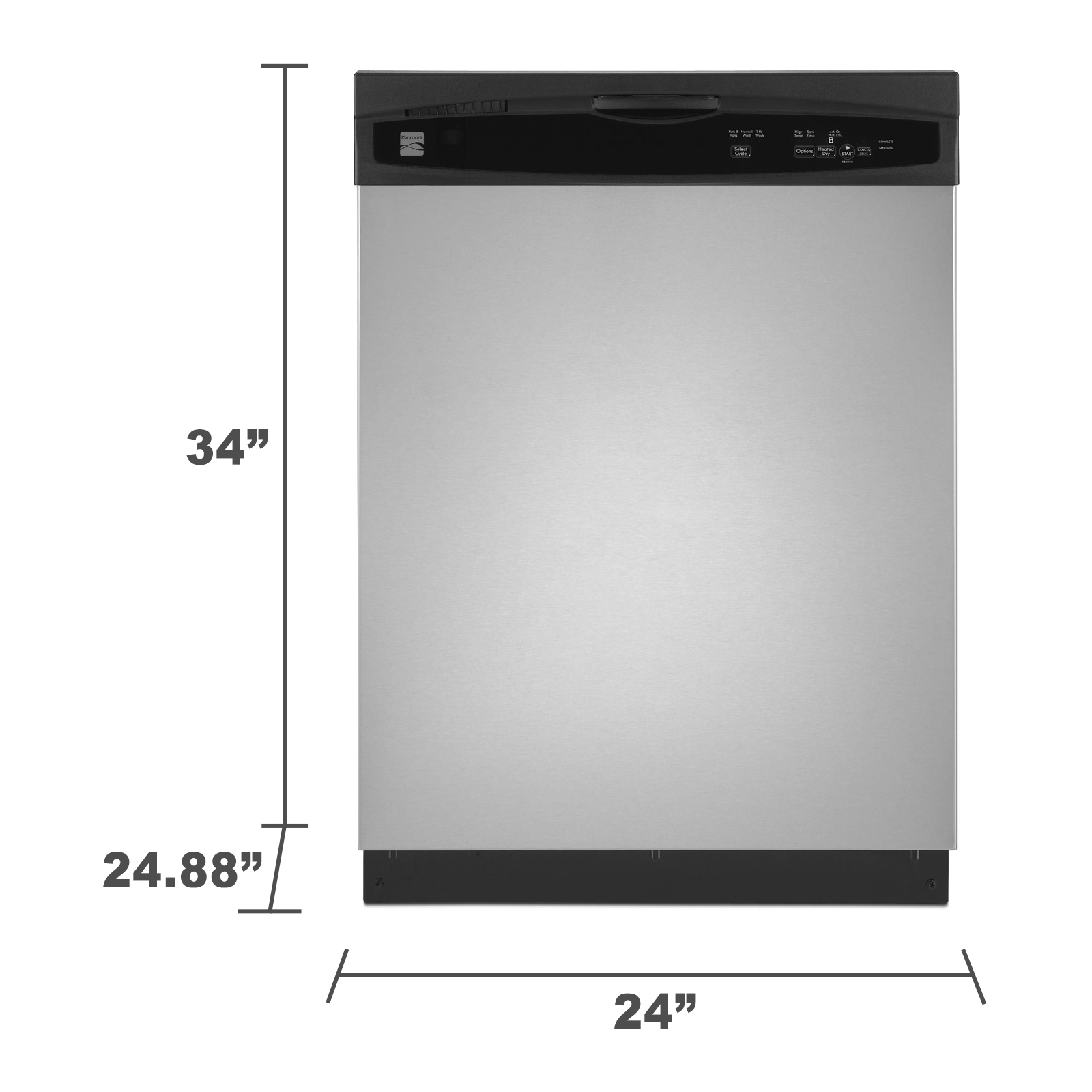 "Kenmore 13073 24"" Built-In Dishwasher - Stainless Steel"