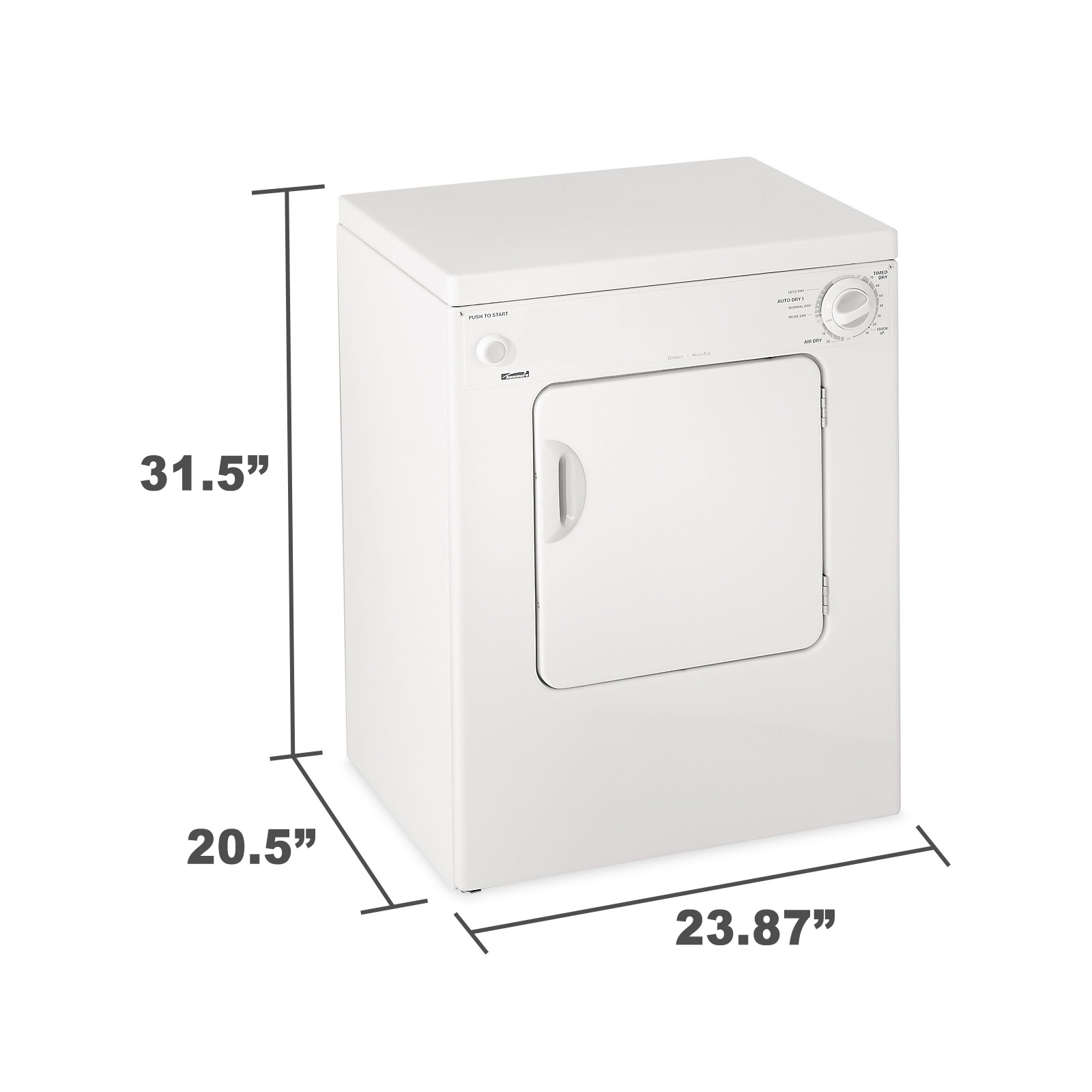 Kenmore 84722 3.4 cu. ft. Electric Compact Portable Extra-Large Capacity Dryer - White