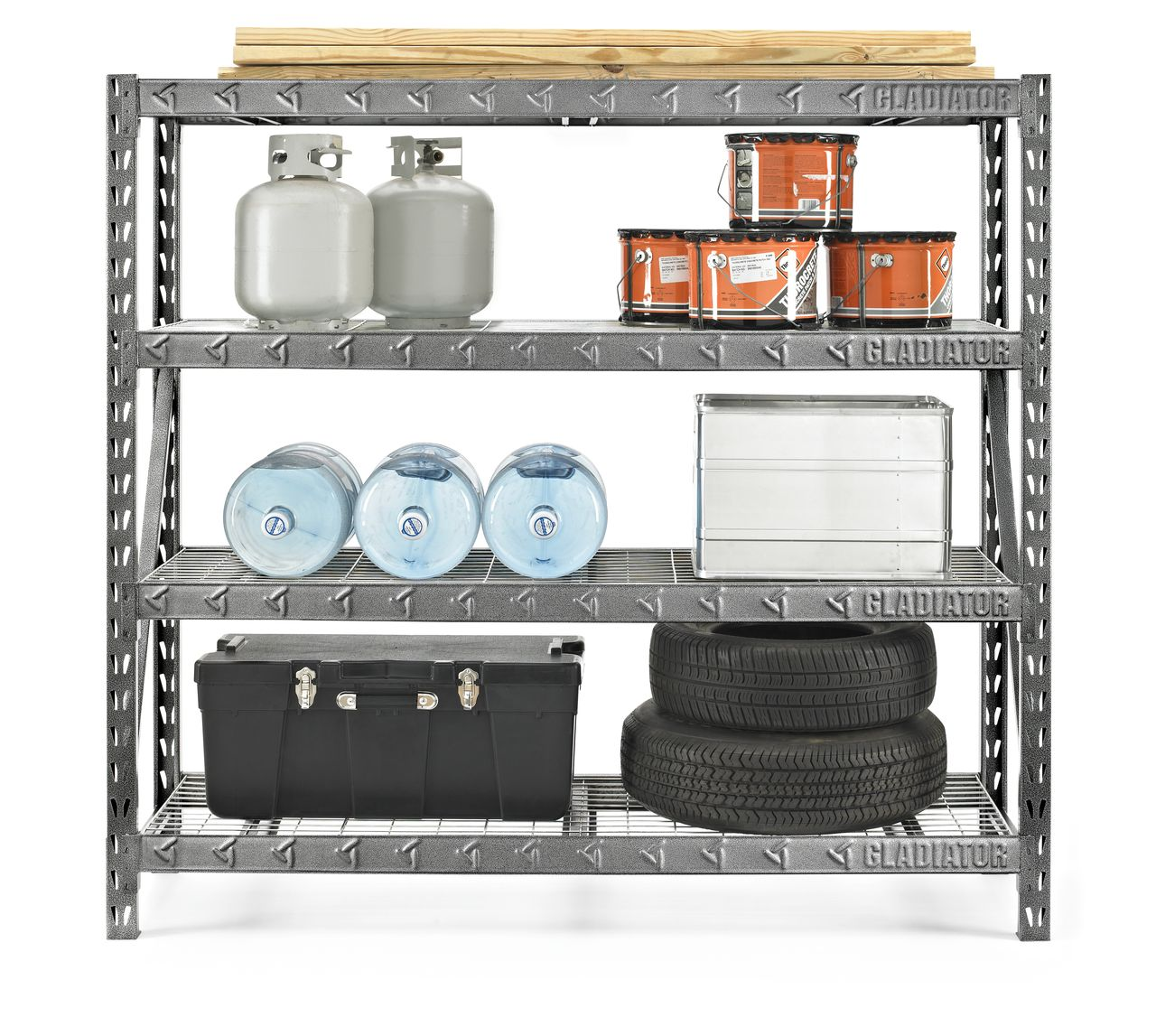 "Gladiator 77"" 4 Shelf Tool-Free Rack 8000 LB Capacity"