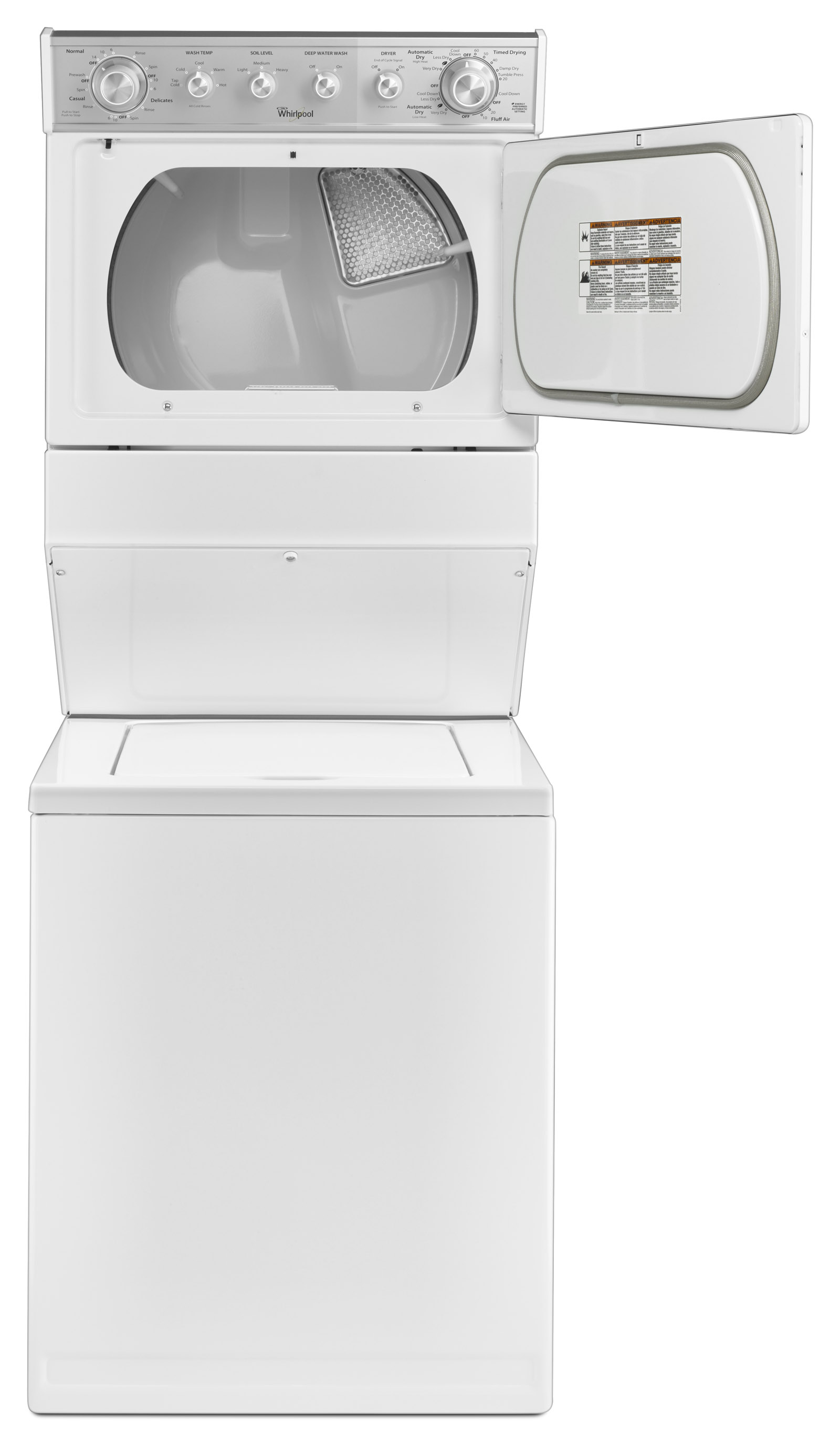 """Whirlpool WGT4027EW 27"""" Full-Size Gas Stacked Laundry Unit - White"""