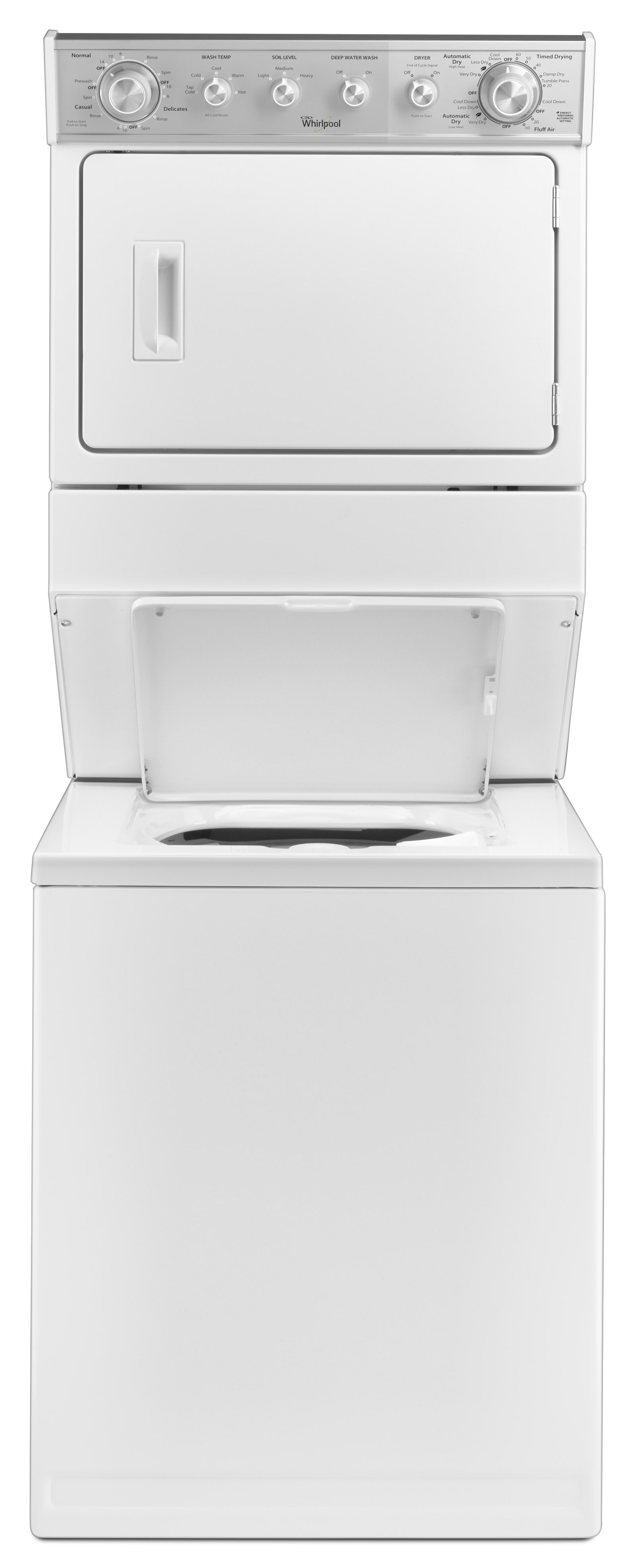 "Whirlpool WET4027EW 27"" Full-Size Electric Stacked Laundry Unit - White"